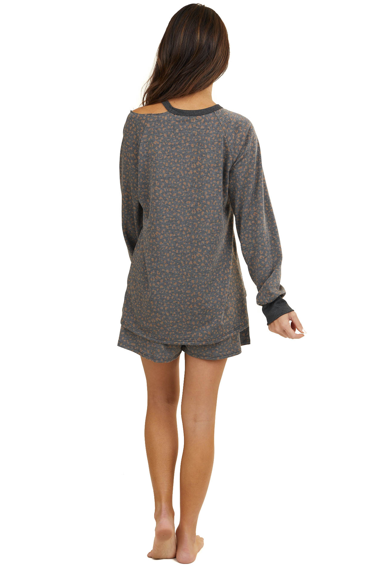 Stormy Grey Cheetah Print Long Sleeve Top with Cold Shoulder