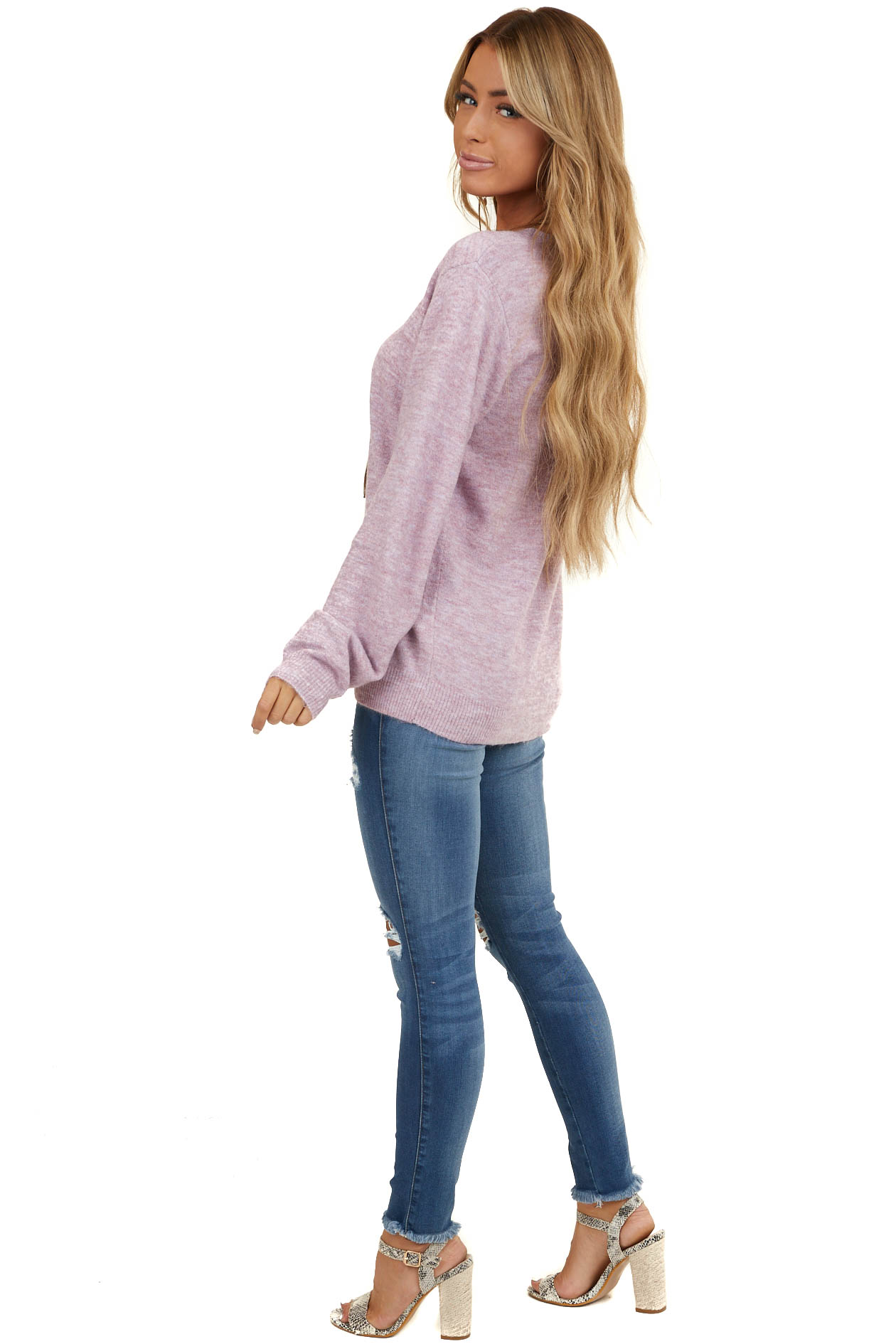 Heathered Lilac Long Sleeve Knit Sweater with Ribbing Detail