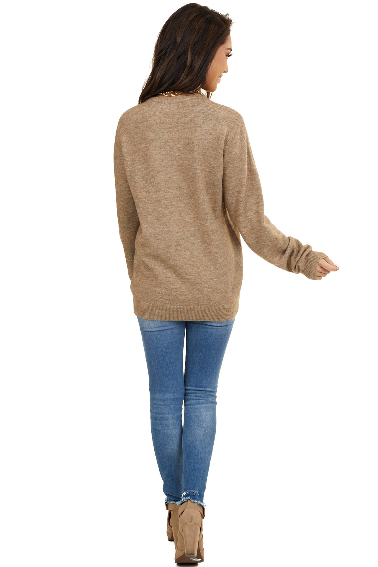 Heathered Taupe Long Sleeve Knit Sweater with Ribbing Detail