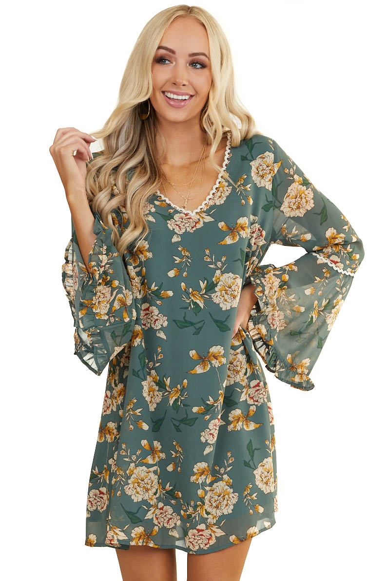 Teal Floral Print Shift Dress with Long Trumpet Sleeves