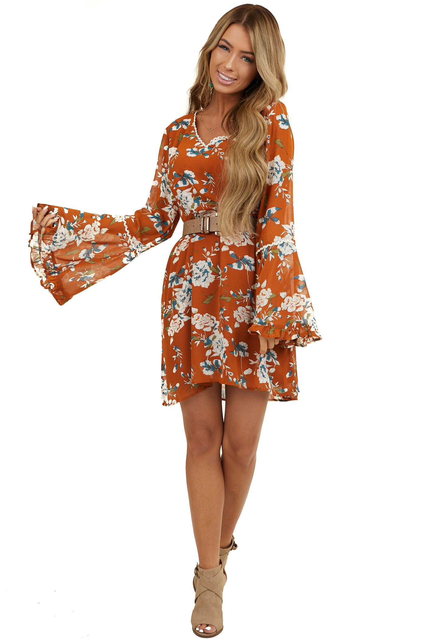 Terracotta Floral Print Shift Dress with Long Trumpet Sleeves