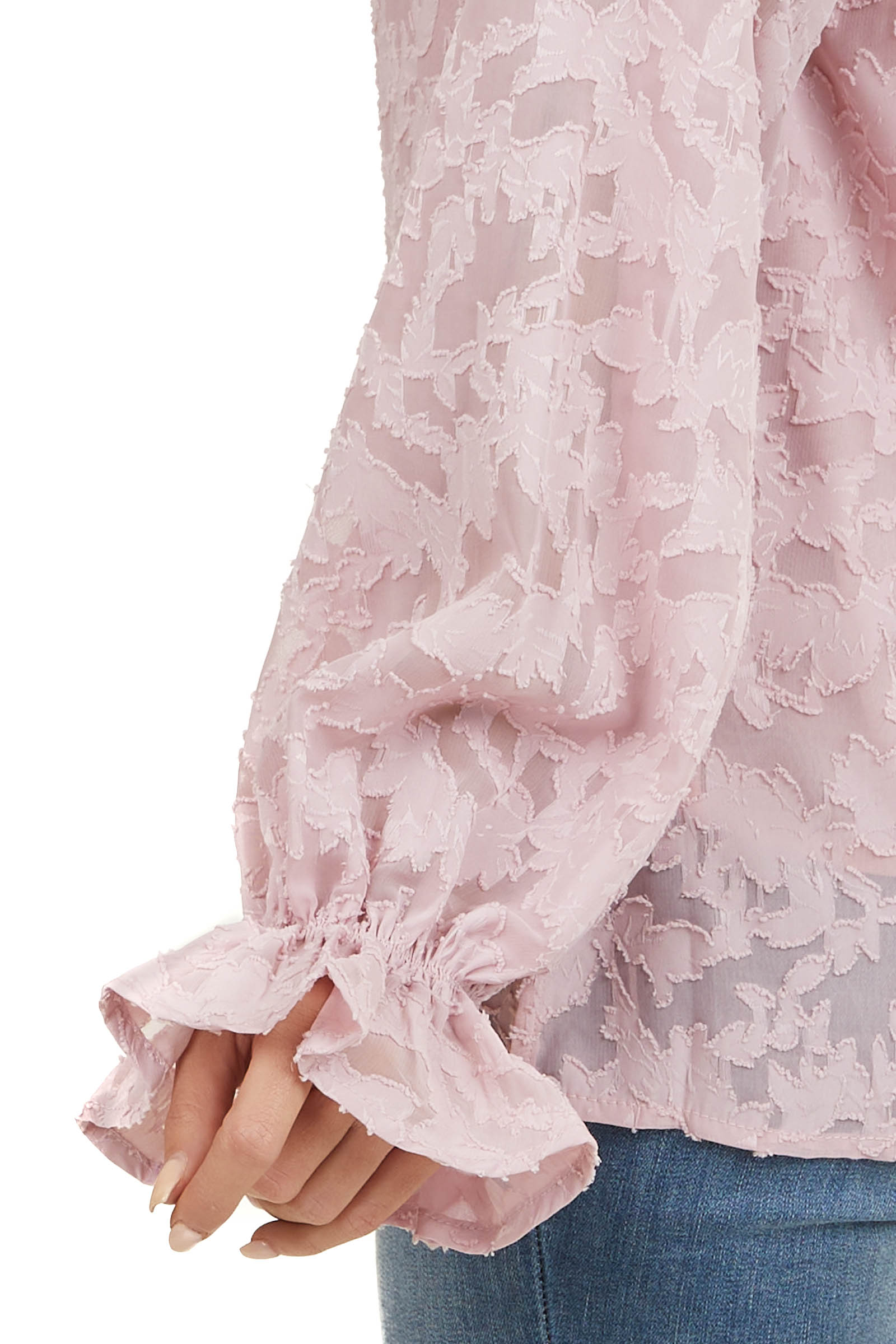 Blush Floral Chiffon Blouse with Long Bubble Sleeves