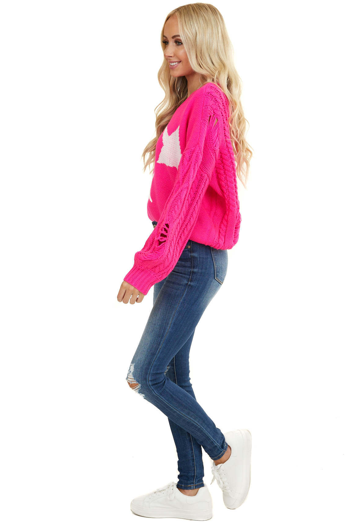 Neon Pink V Neck Sweater with Stars and Distressed Details