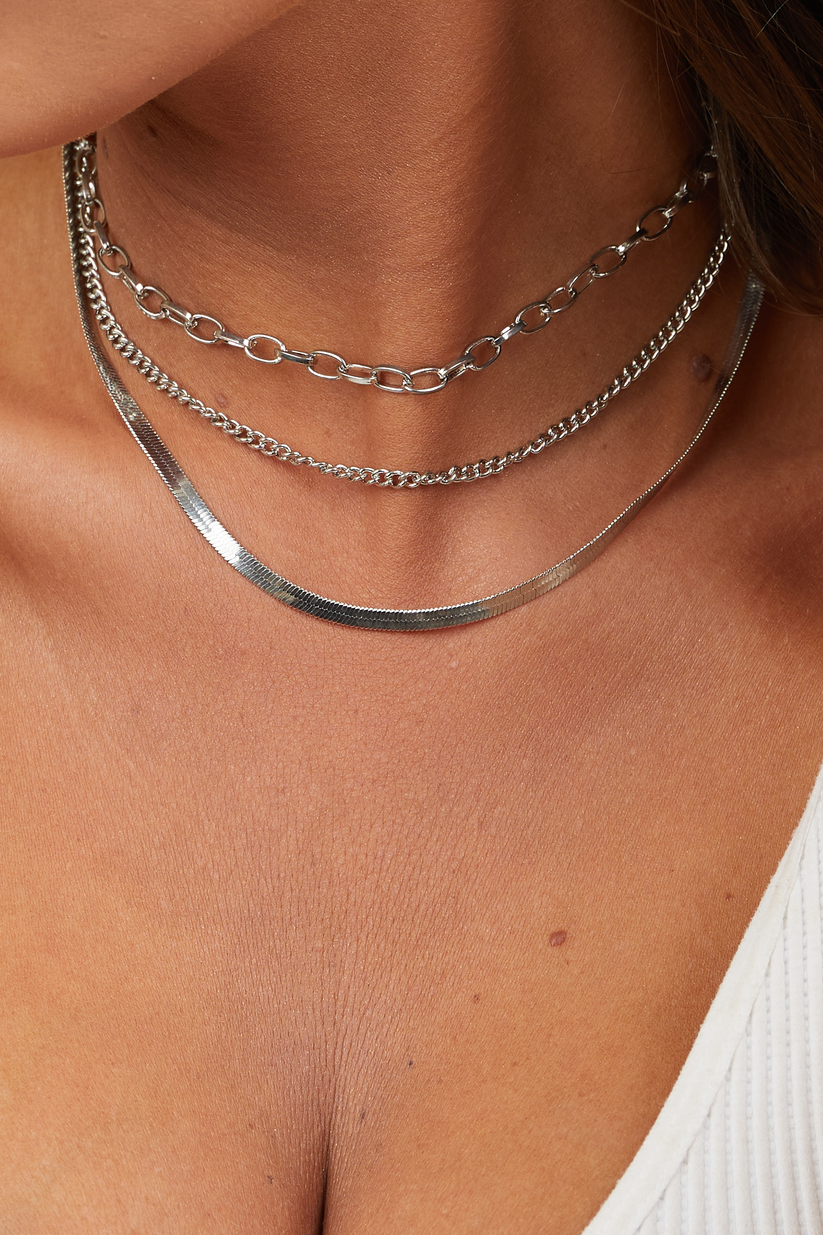Silver Layered Chain Necklace with Lobster Clasp Closure