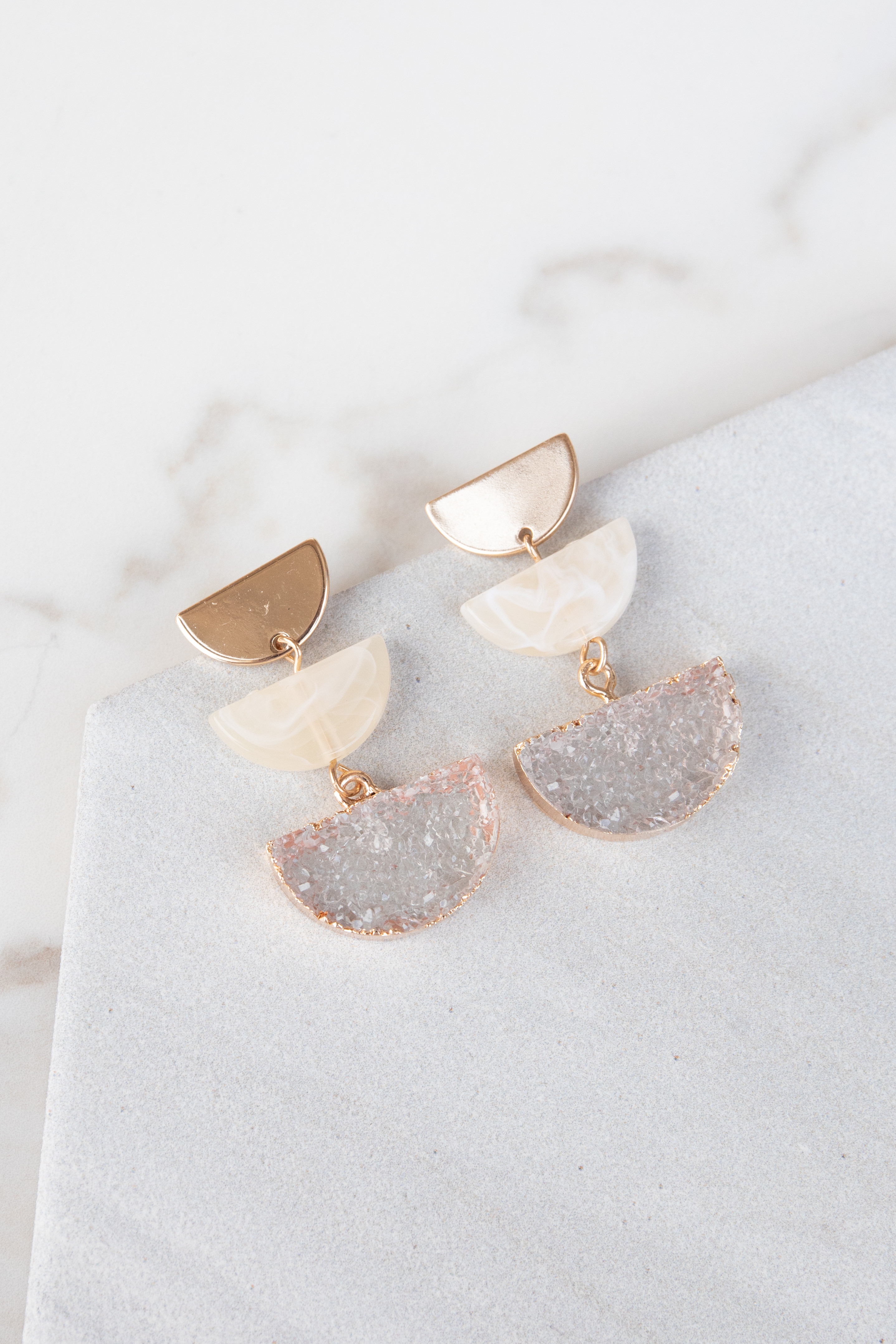 Gold Dangle Earrings with Champagne Acrylic and Druzy Detail