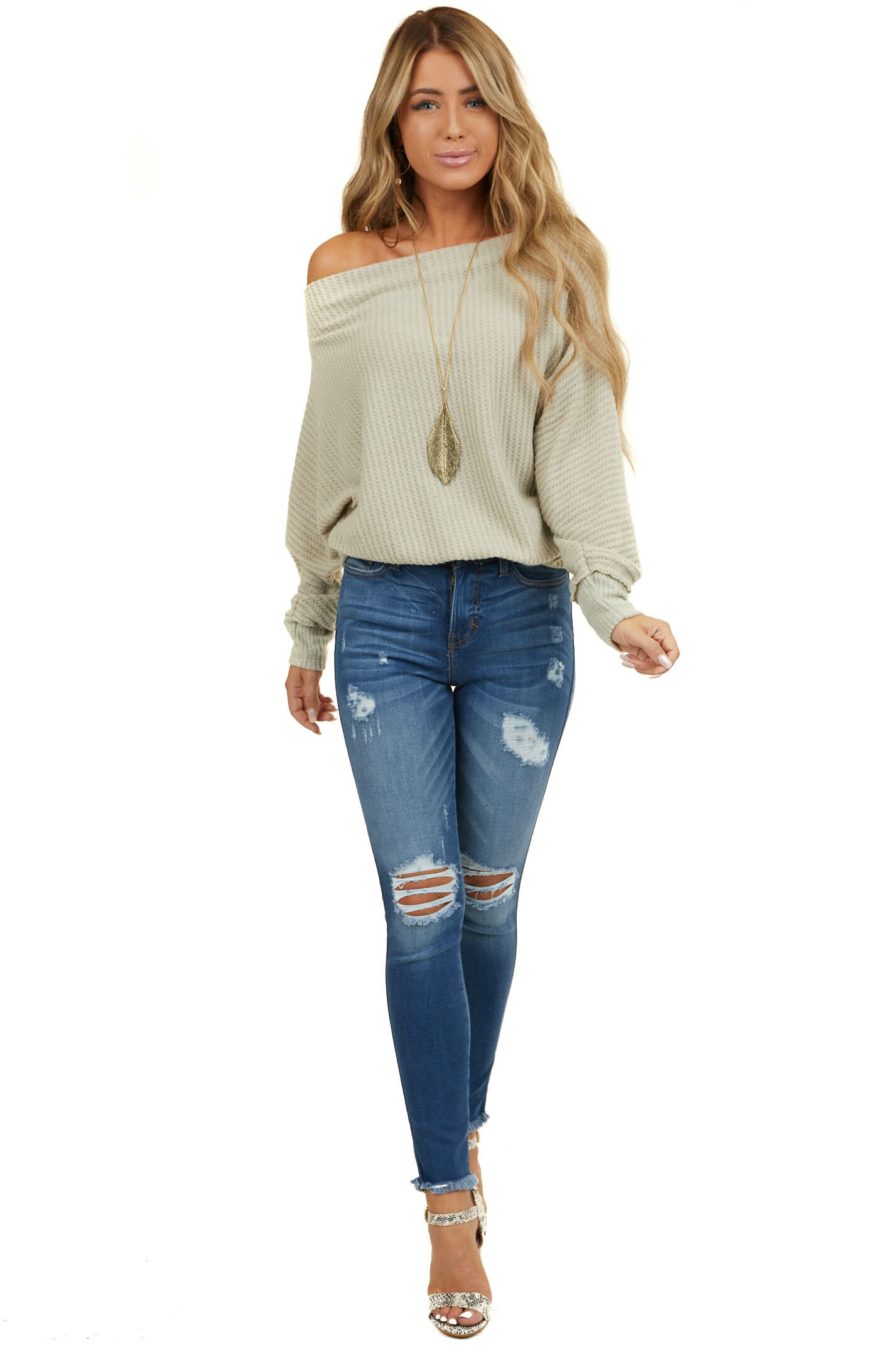 Oatmeal Boat Neck Off Shoulder Sweater with Dolman Sleeves
