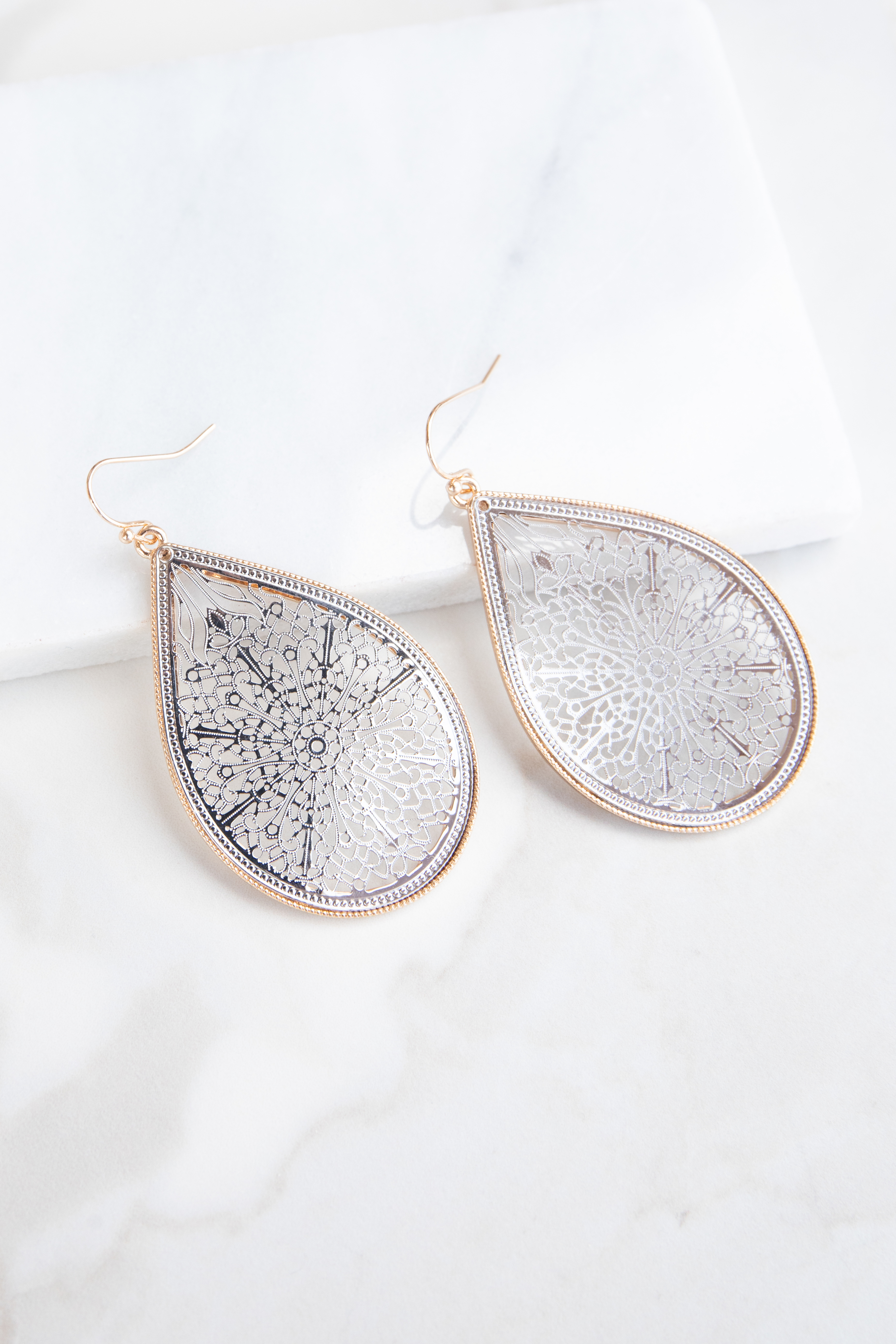 Silver Teardrop Shaped Filigree Dangle Earrings with Gold