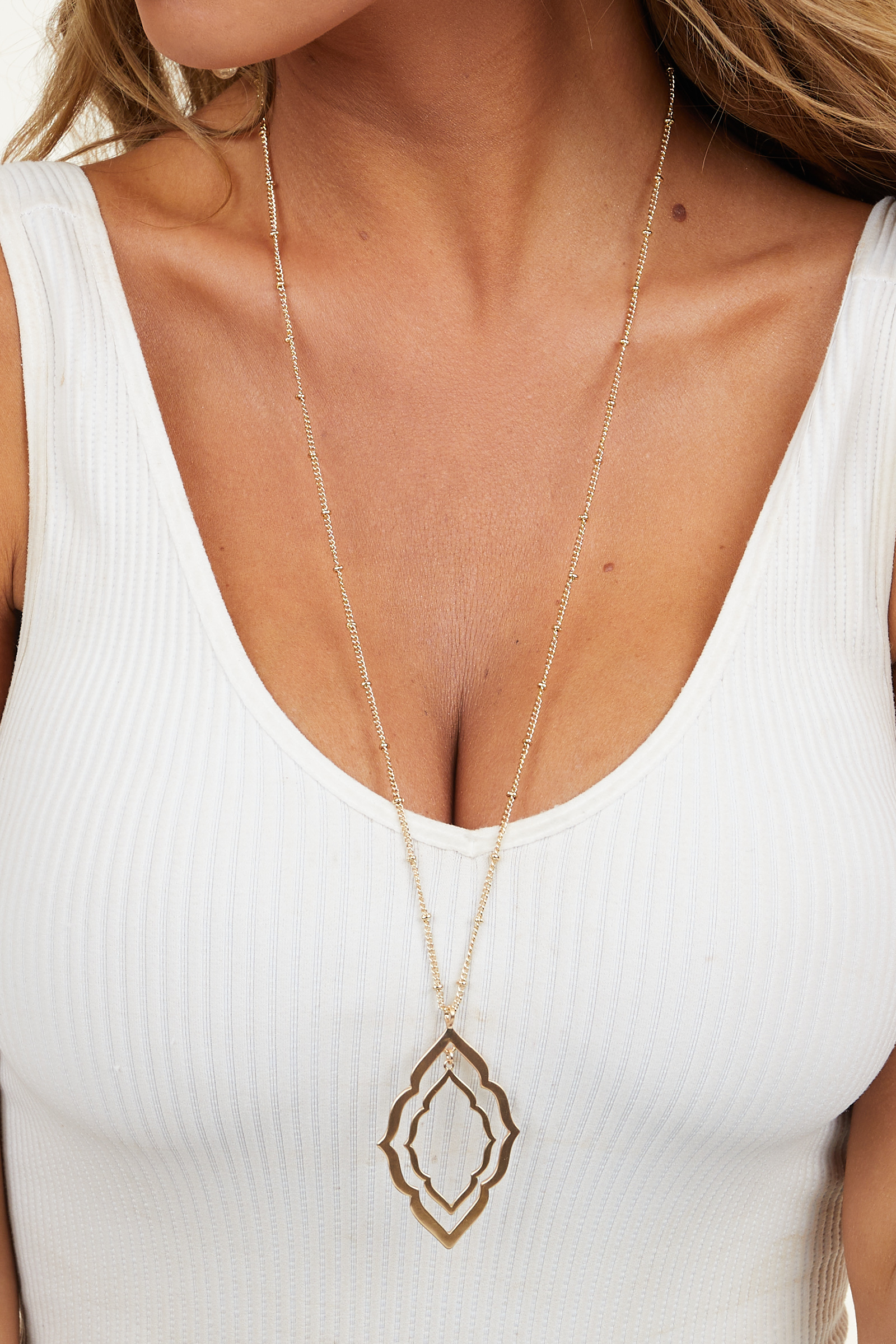 Gold Long Dangle Necklace with Diamond Shaped Pendant