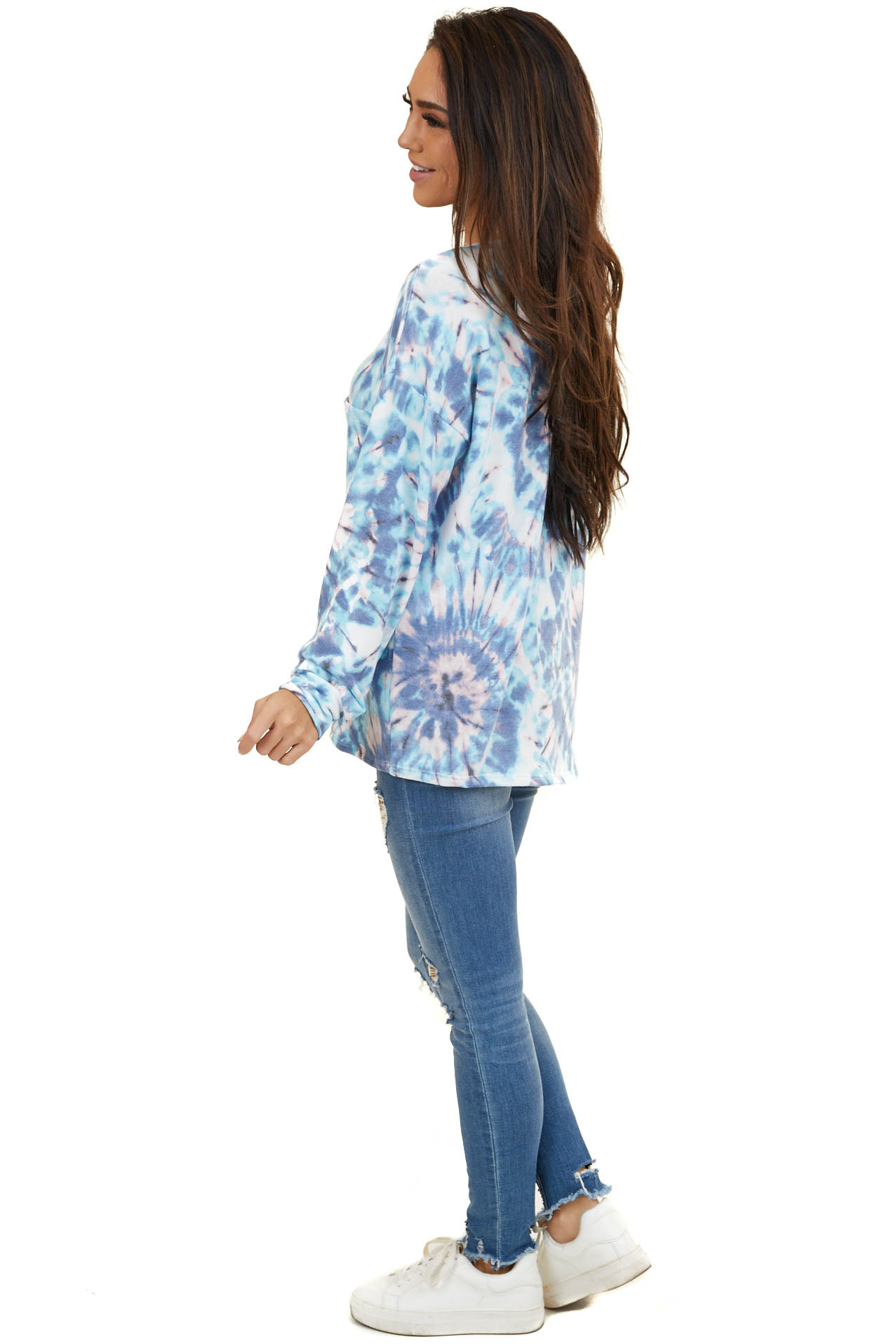 Sky Blue and Blush Tie Dye Long Sleeve with Front Pocket
