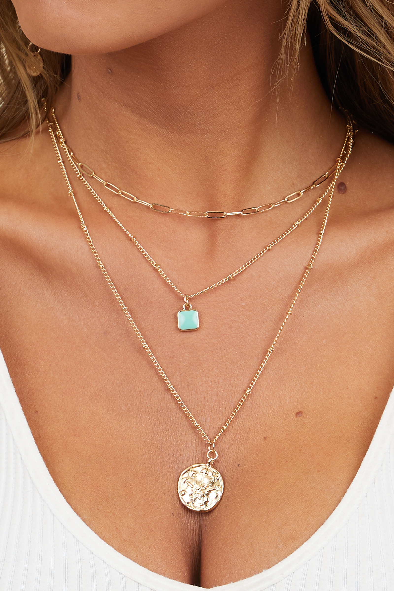 Gold Layered Necklace with Coin and Turquoise Pendant Detail