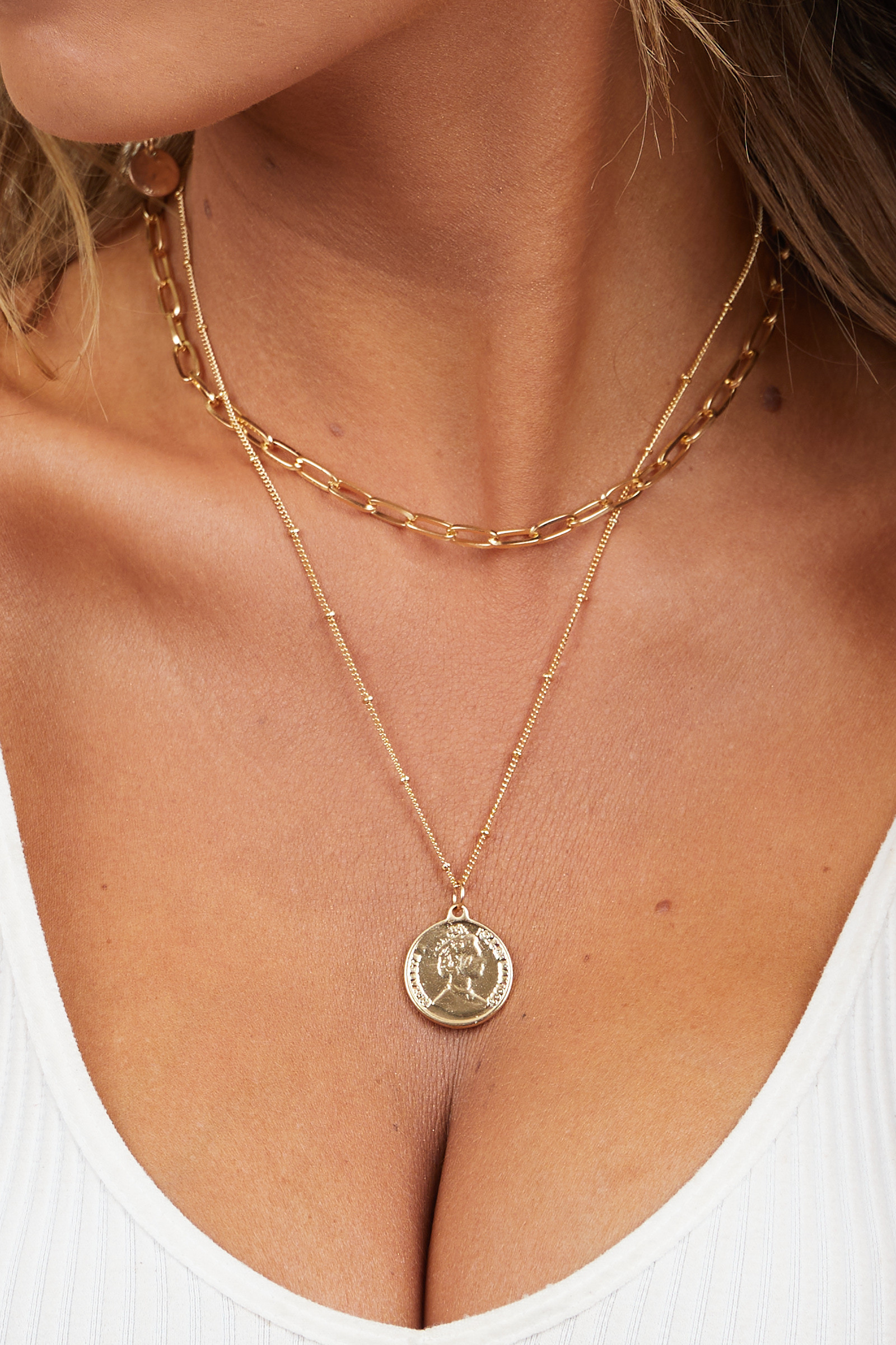 Gold Layered Necklace with Various Chains and Coin Detail