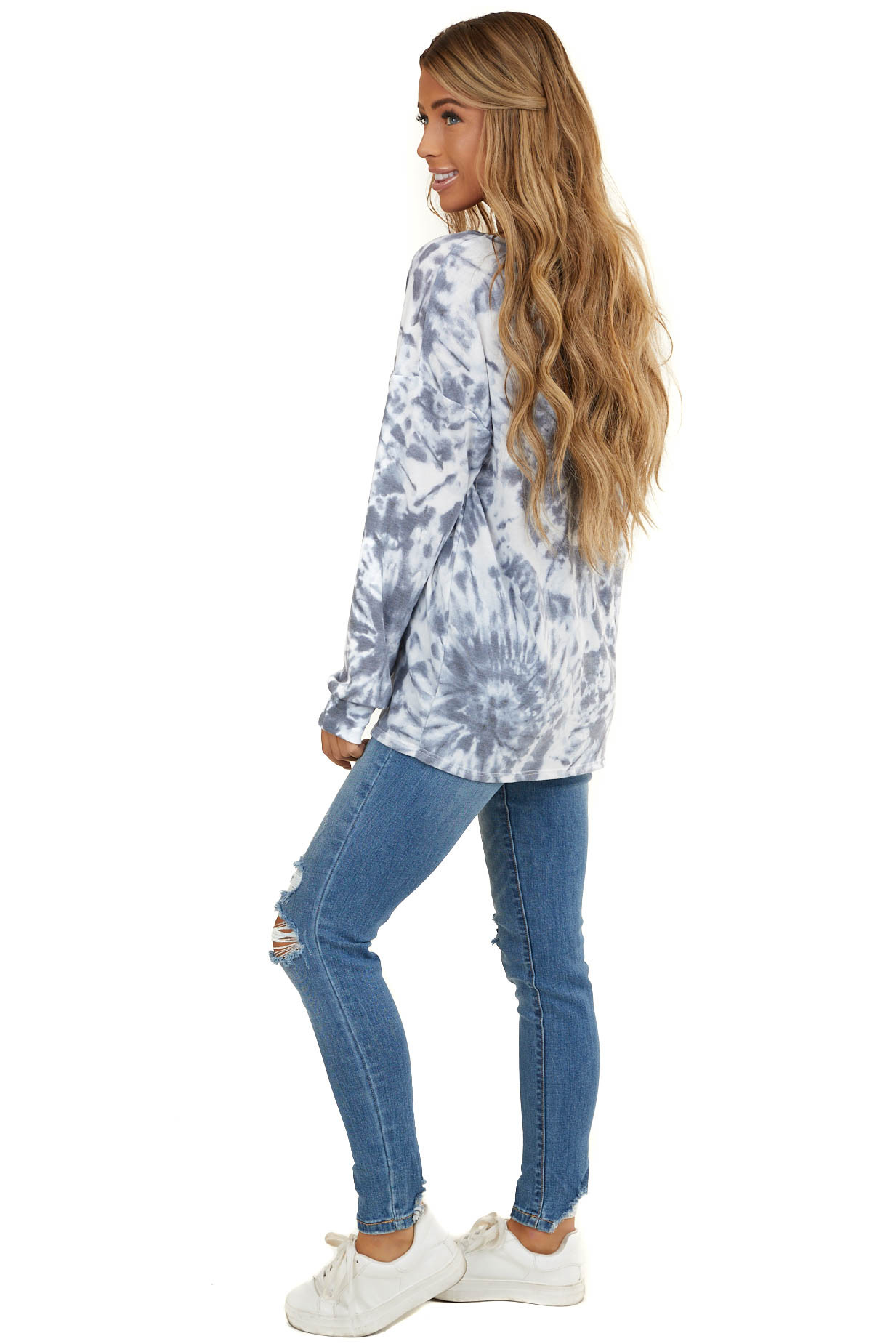 Stormy Grey and Slate Blue Tie Dye Top with Front Pocket
