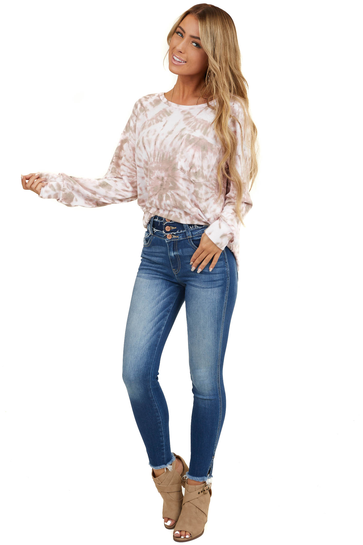 Dusty Blush and Taupe Tie Dye Top with Front Pocket