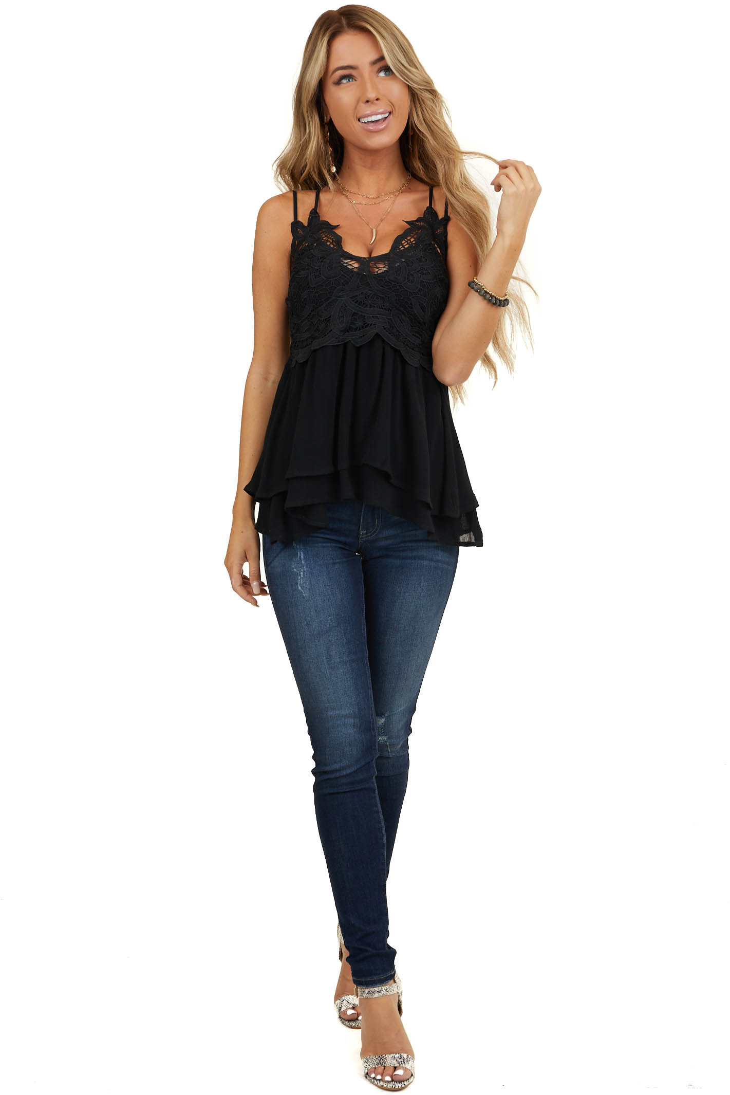 Black Tank with Smocked Back and Lace Details