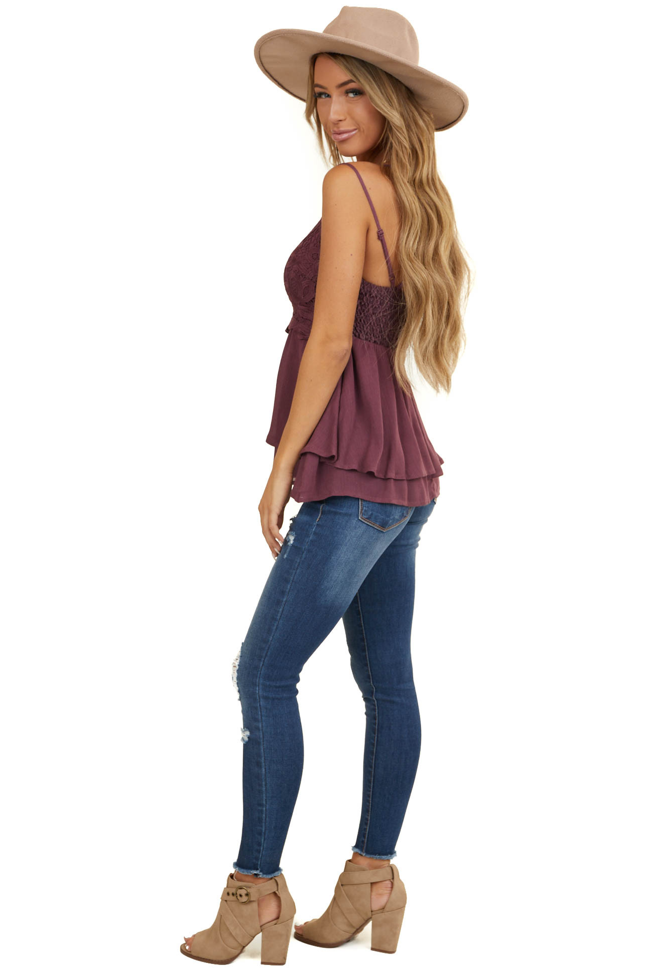 Plum Tank with Smocked Back and Lace Details
