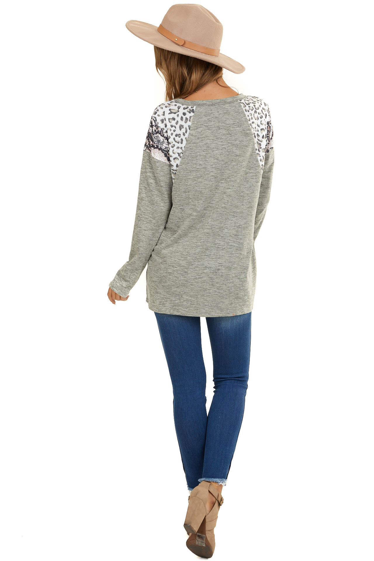Sage Long Sleeve Top with Leopard and Snakeskin Print