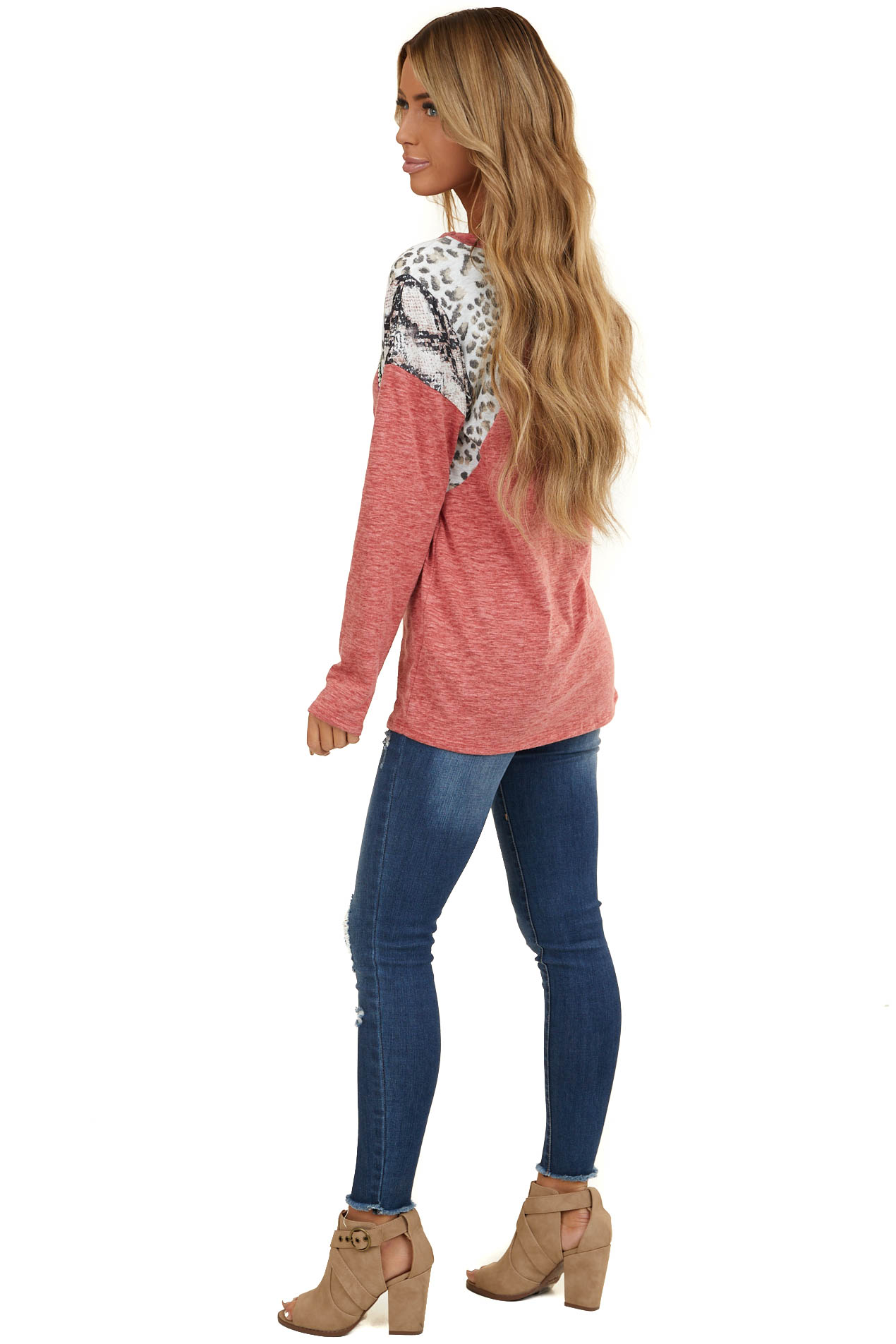 Ruby Long Sleeve Top with Leopard and Snakeskin Print