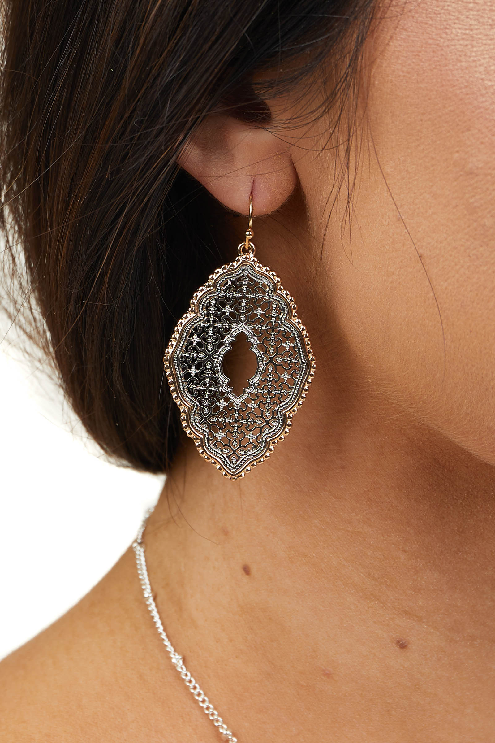 Silver and Gold Metal Moroccan Filigree Dangle Earrings