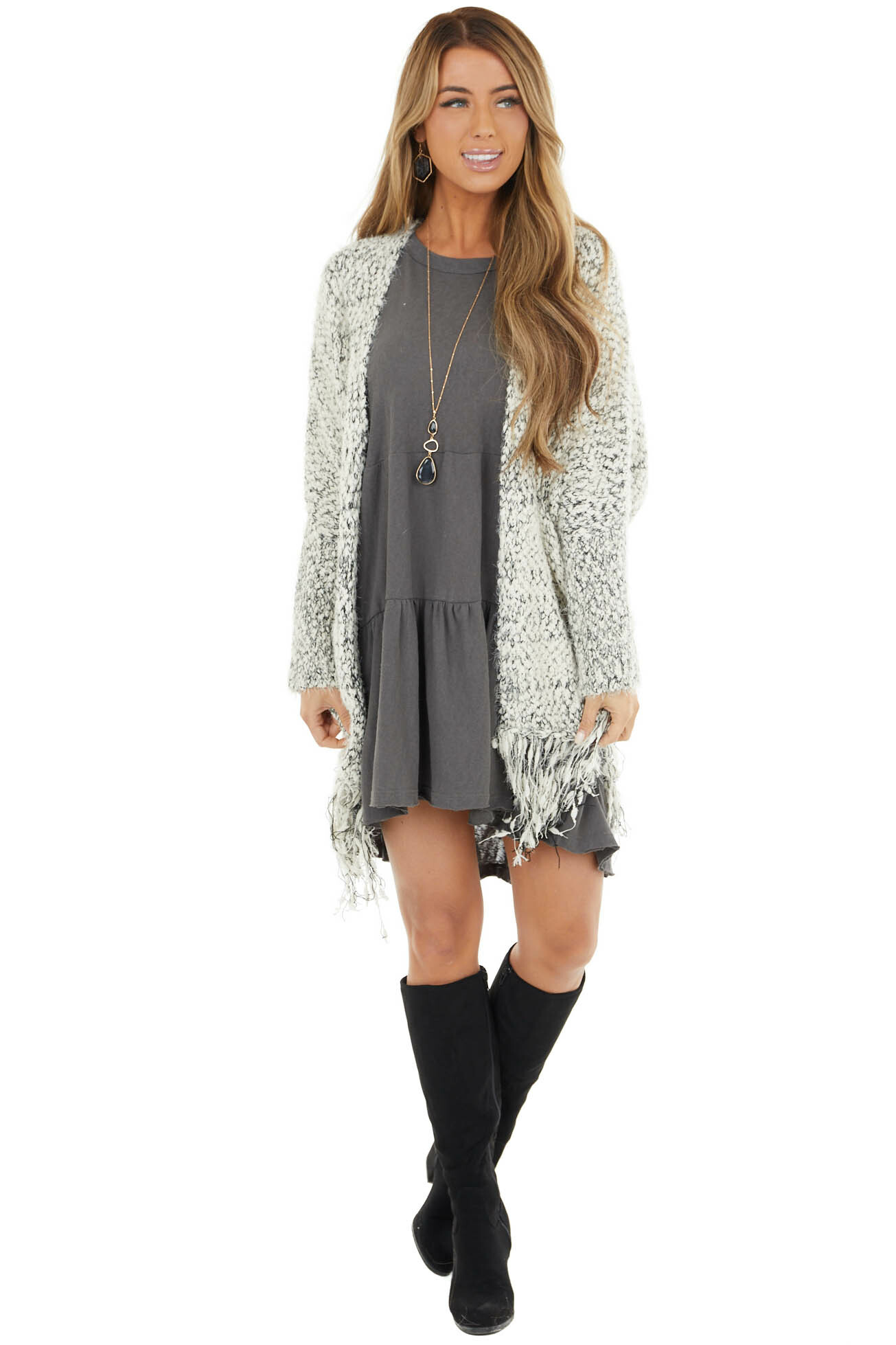Black and White Textured Knit Cardigan with Fringe