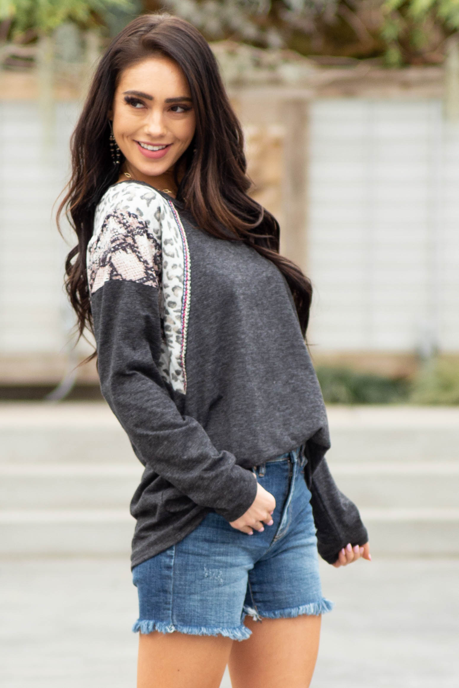 Black Long Sleeve Top with Leopard and Snakeskin Print