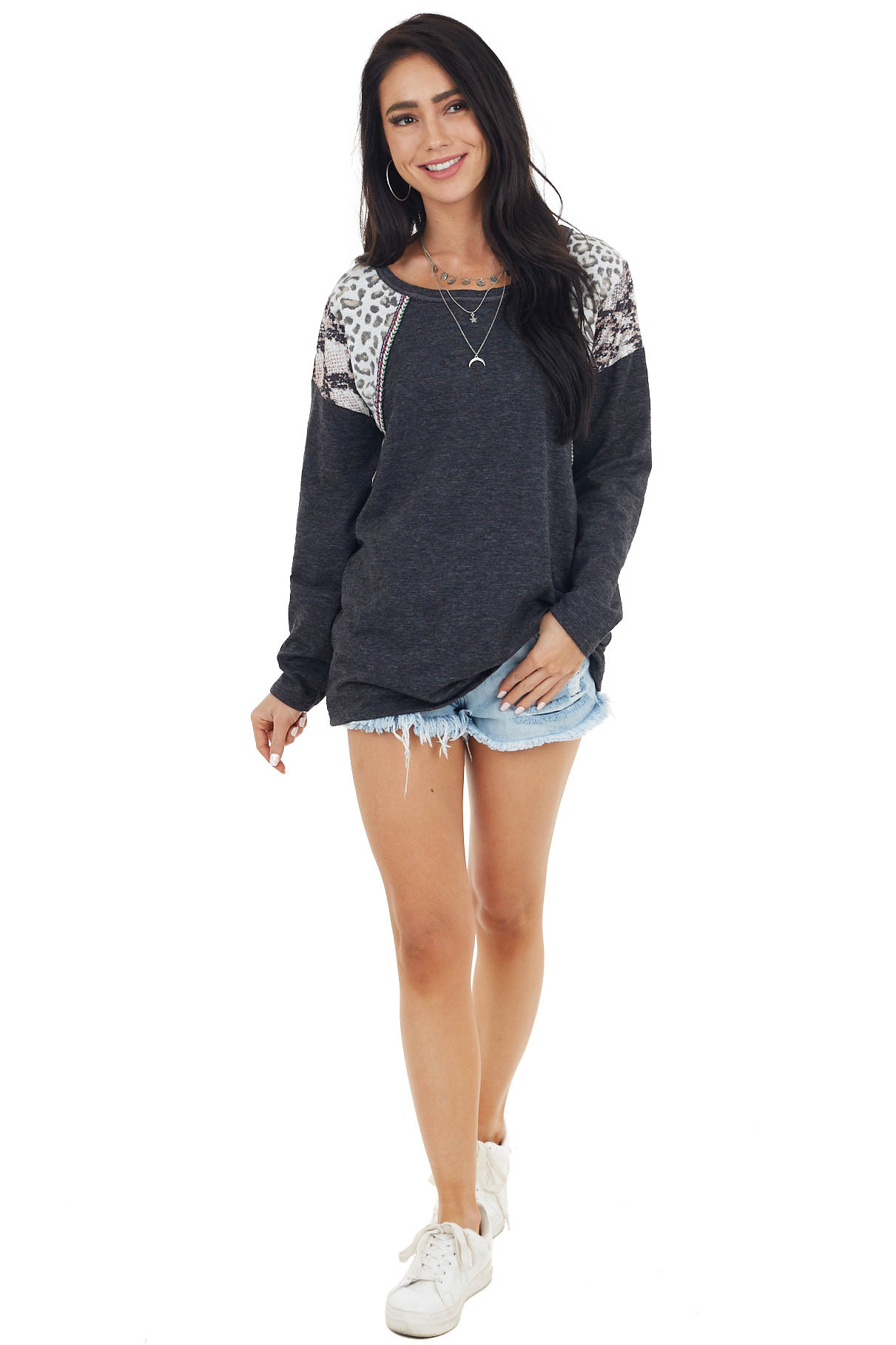 Heathered Black Long Sleeve Top with Leopard and Snake Print