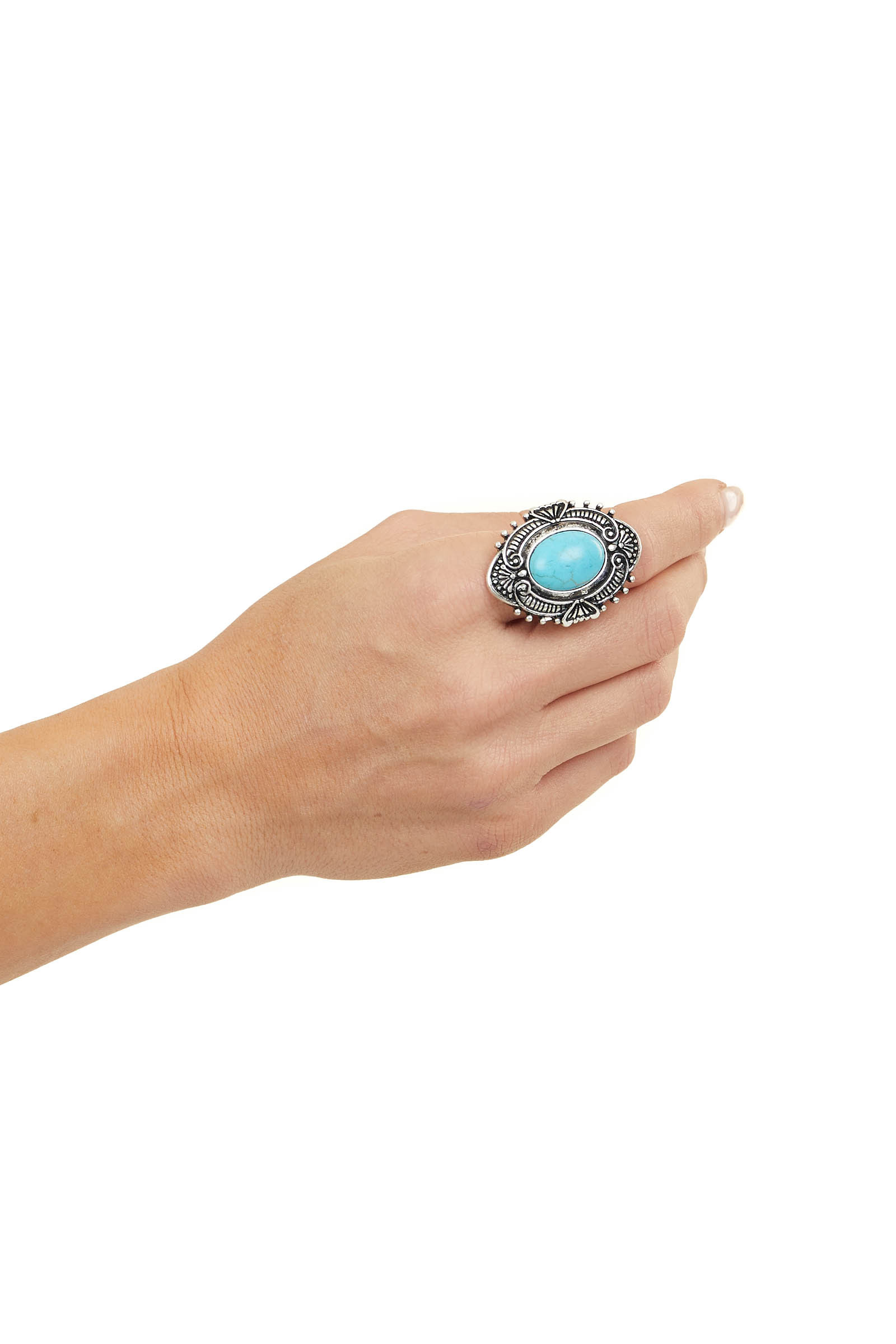 Antique Silver Adjustable Ring with Turquoise Stone Detail