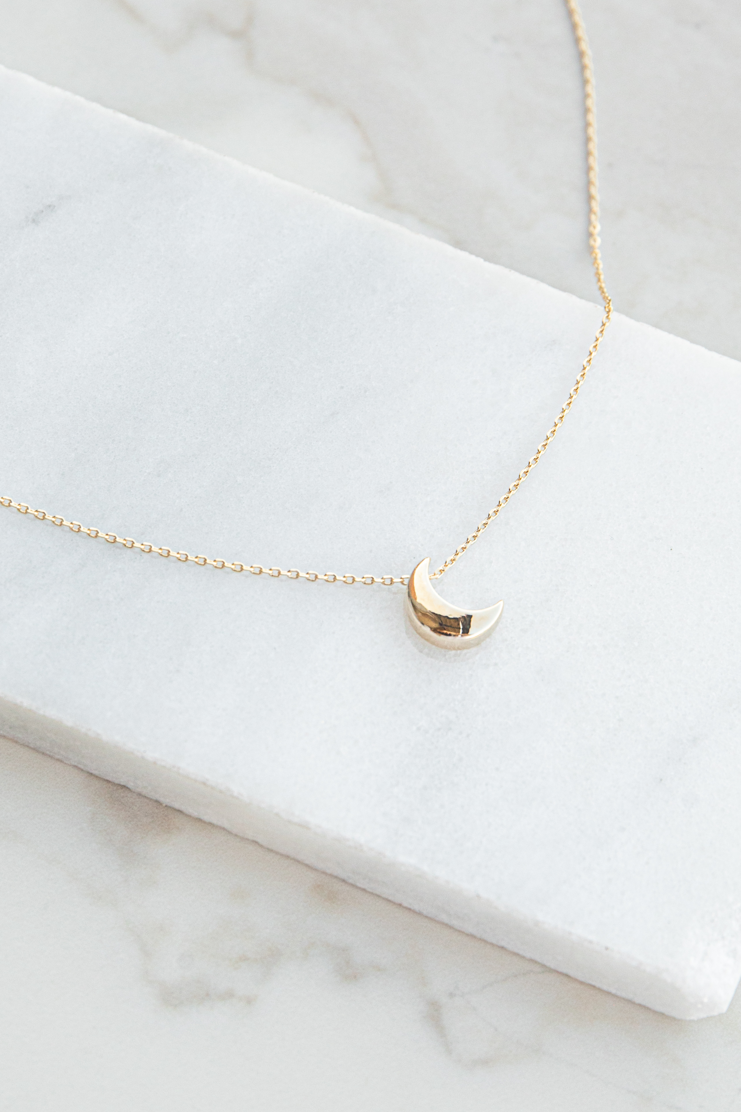 Gold Dainty Short Necklace with Tiny Moon Charm Detail