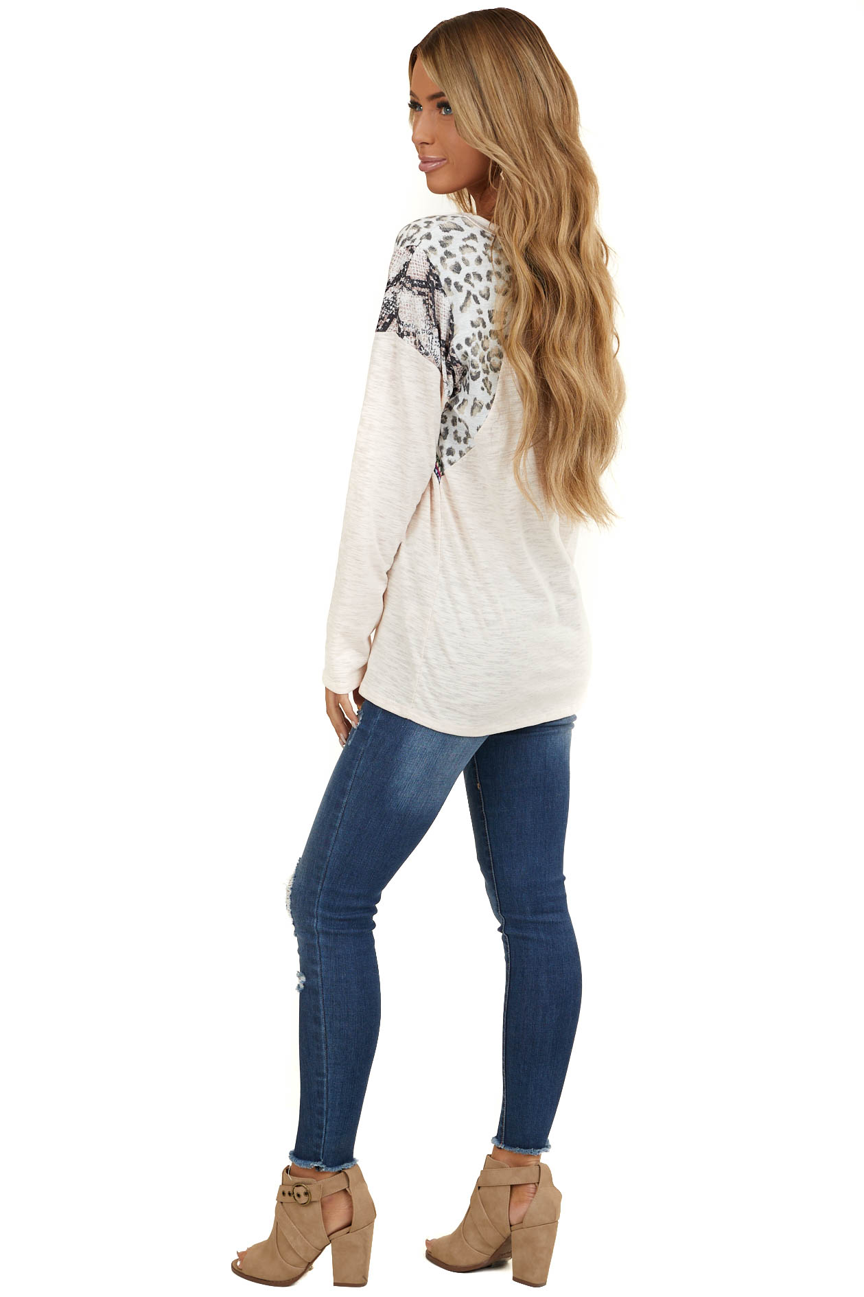 Pale Peach Long Sleeve Top with Leopard and Snakeskin Print