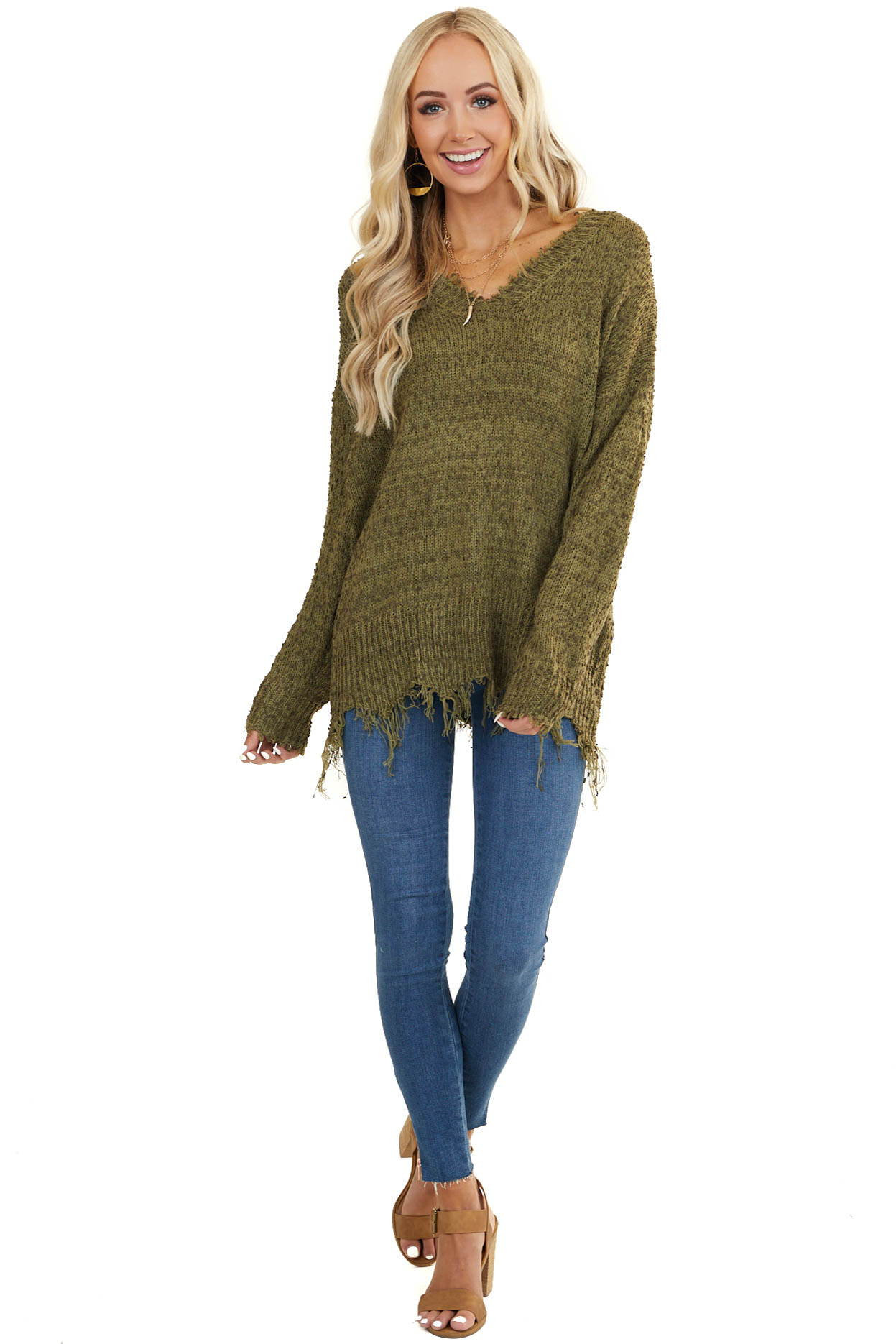 Hunter Green and Olive V Neck Sweater with Frayed Hems