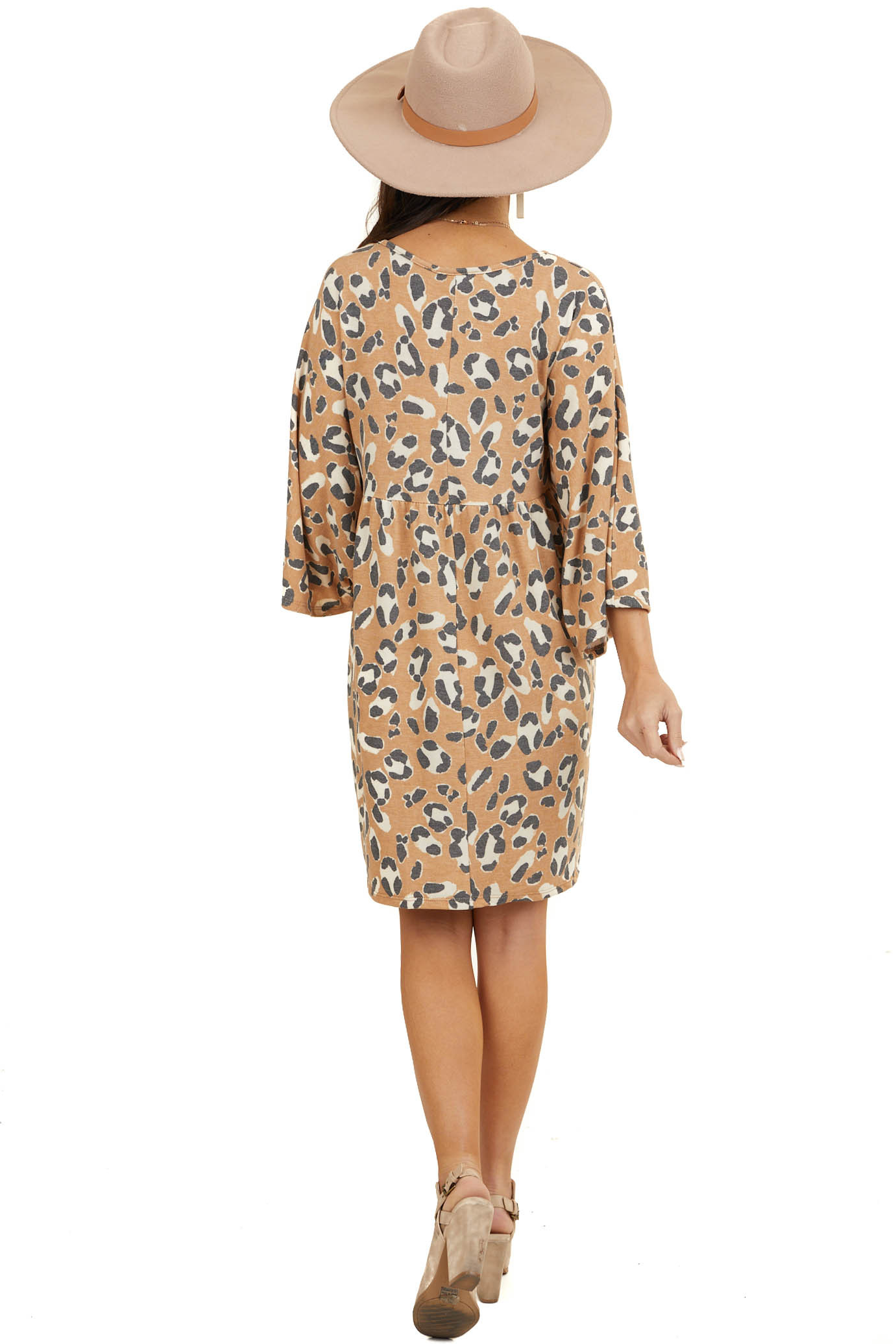 Dusty Orange Leopard Print Dress with 3/4 Length Sleeves
