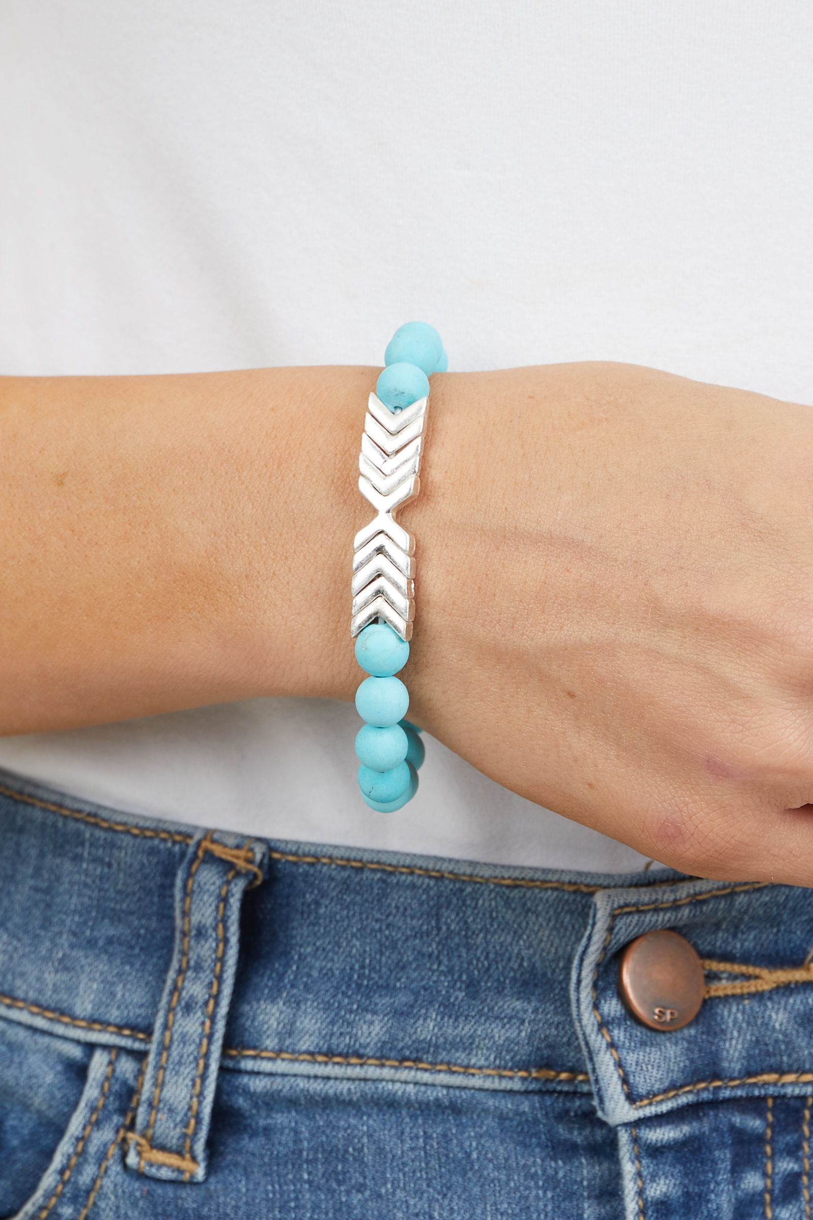 Turquoise Beaded Stretchy Bracelet with Silver Chevron Charm