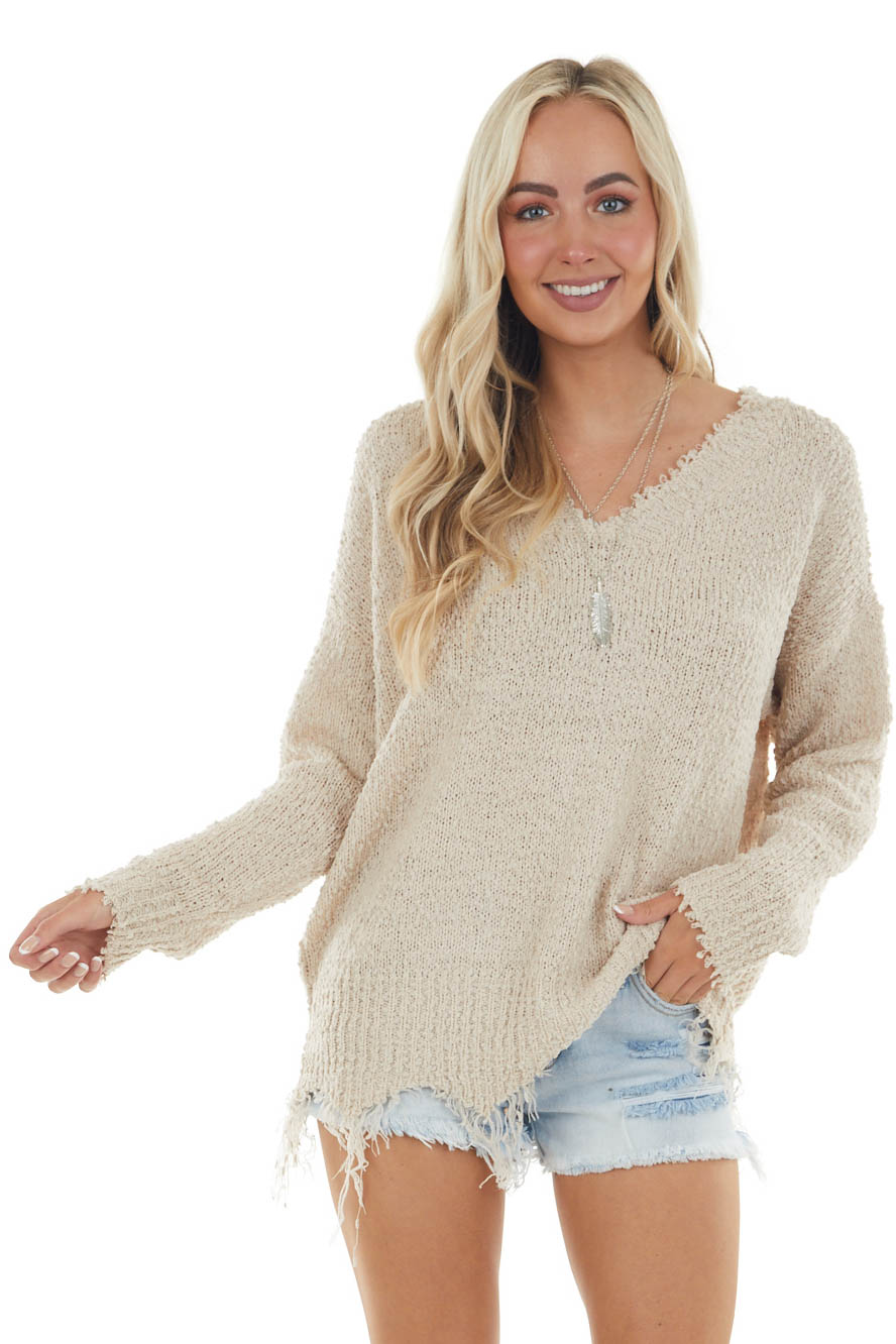 Oatmeal V Neck Sweater with Frayed and Distressed Details