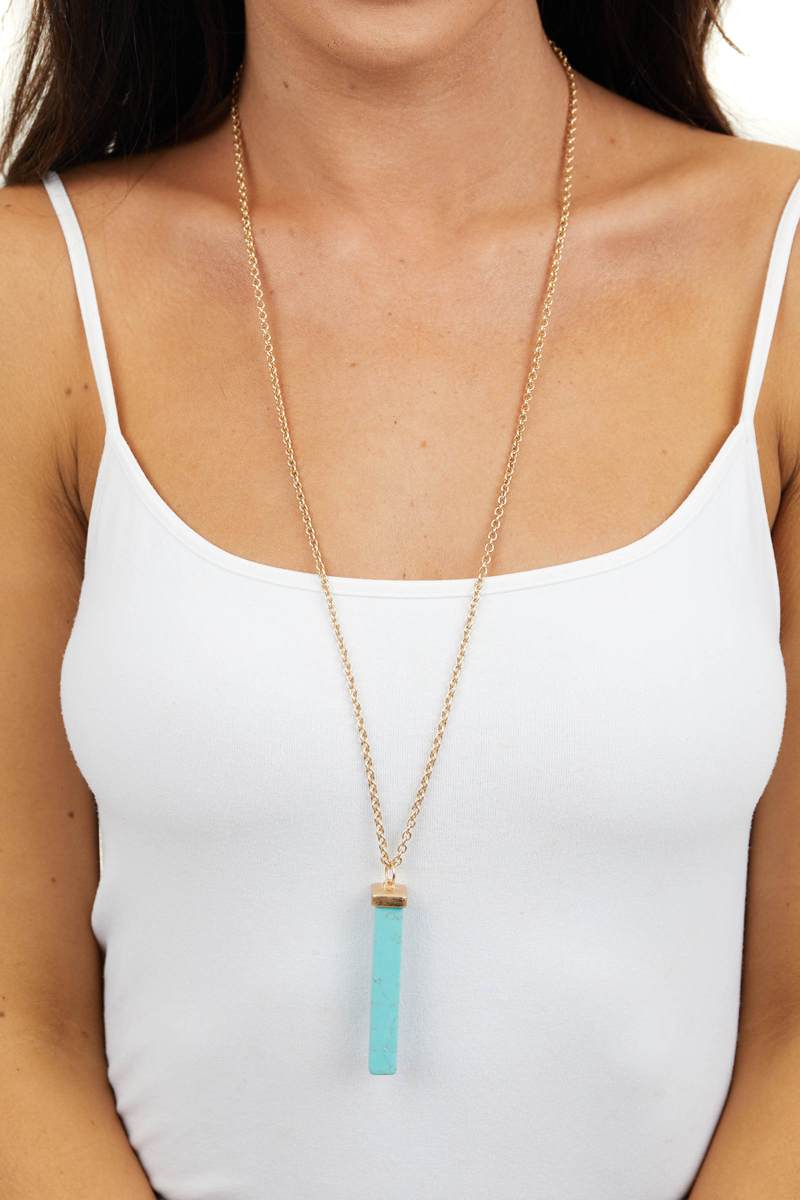 Gold Long Necklace with Turquoise Stone Bar Pendant
