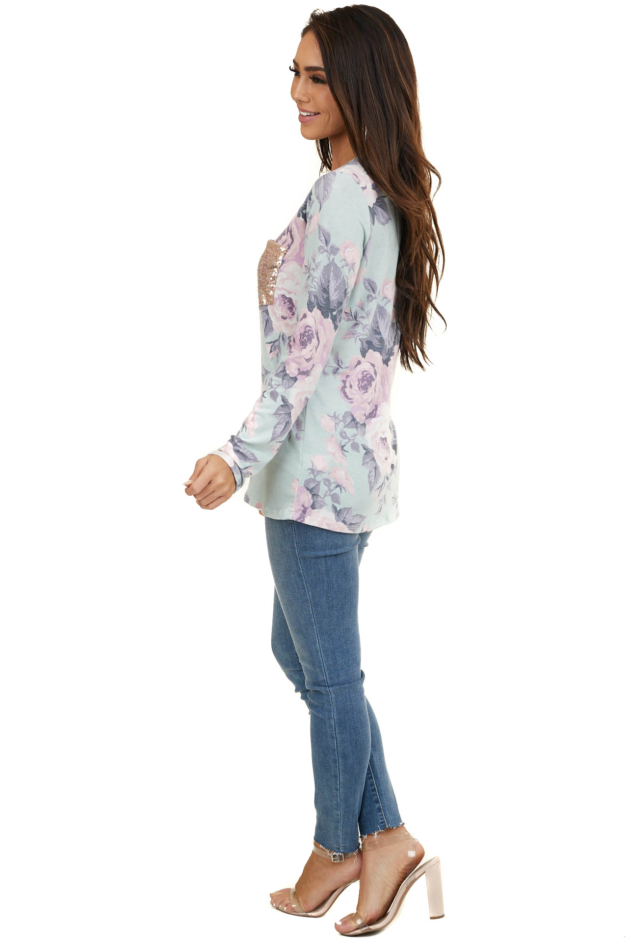 Seafoam Floral Long Sleeve Top with Sequin Pocket Detail