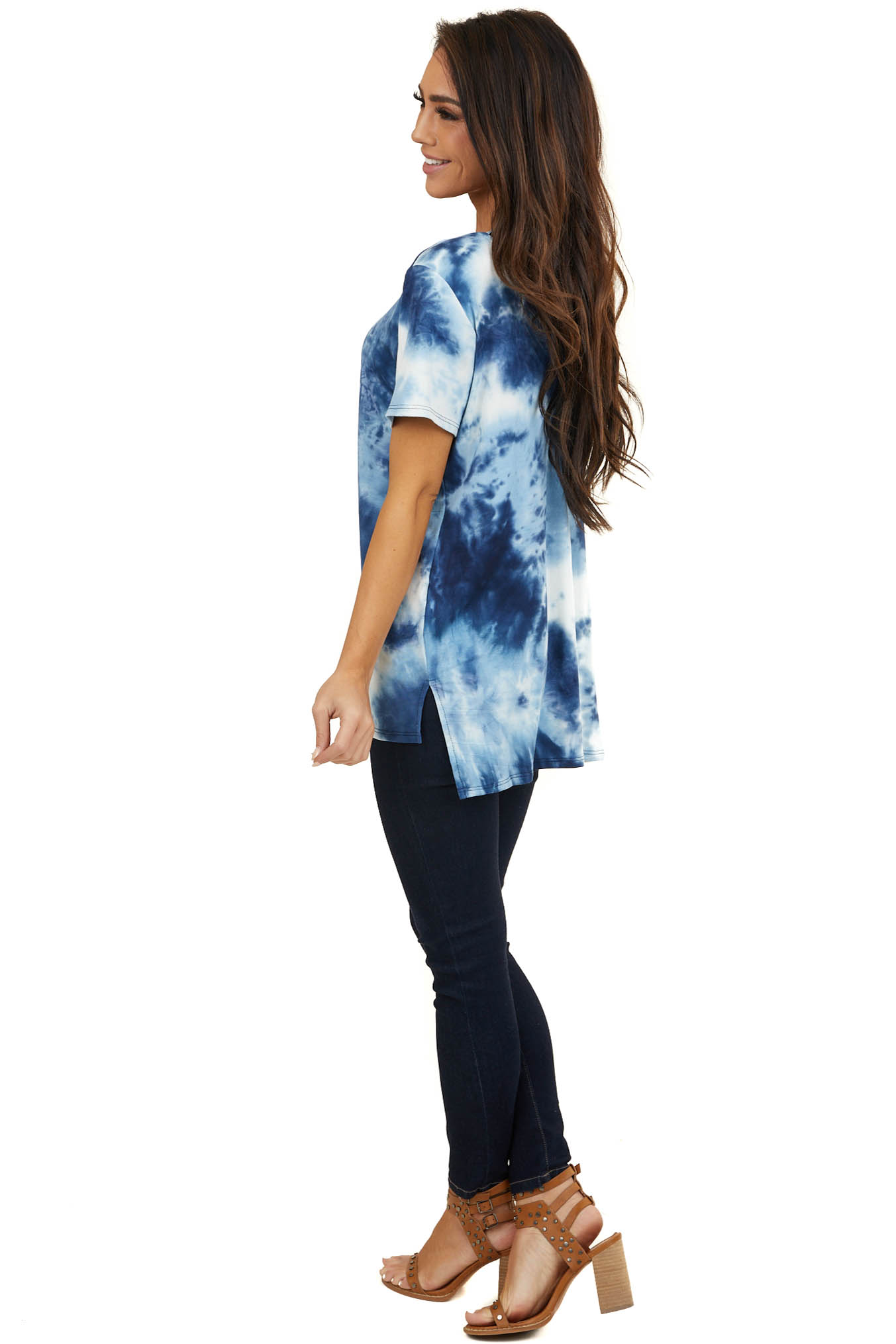 Blue Tie Dye Short Sleeve Knit Top with Cutout Details
