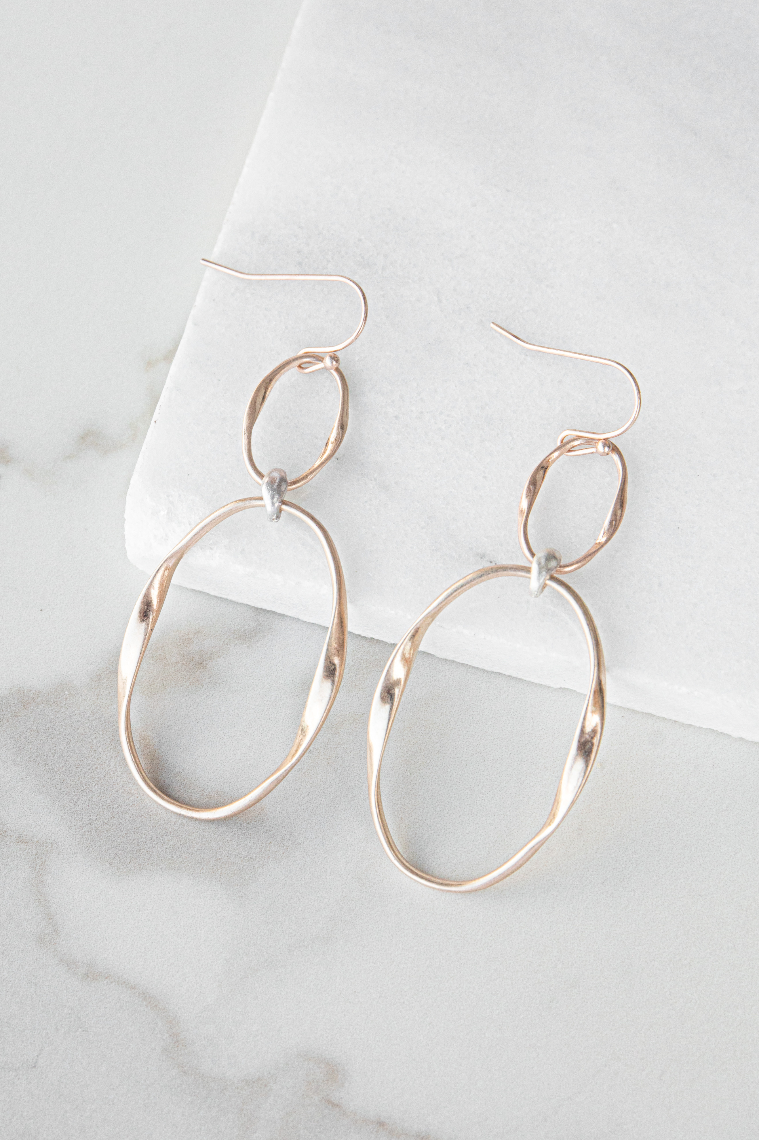 Rose Gold Double Linked Dangle Earrings with Silver Detail