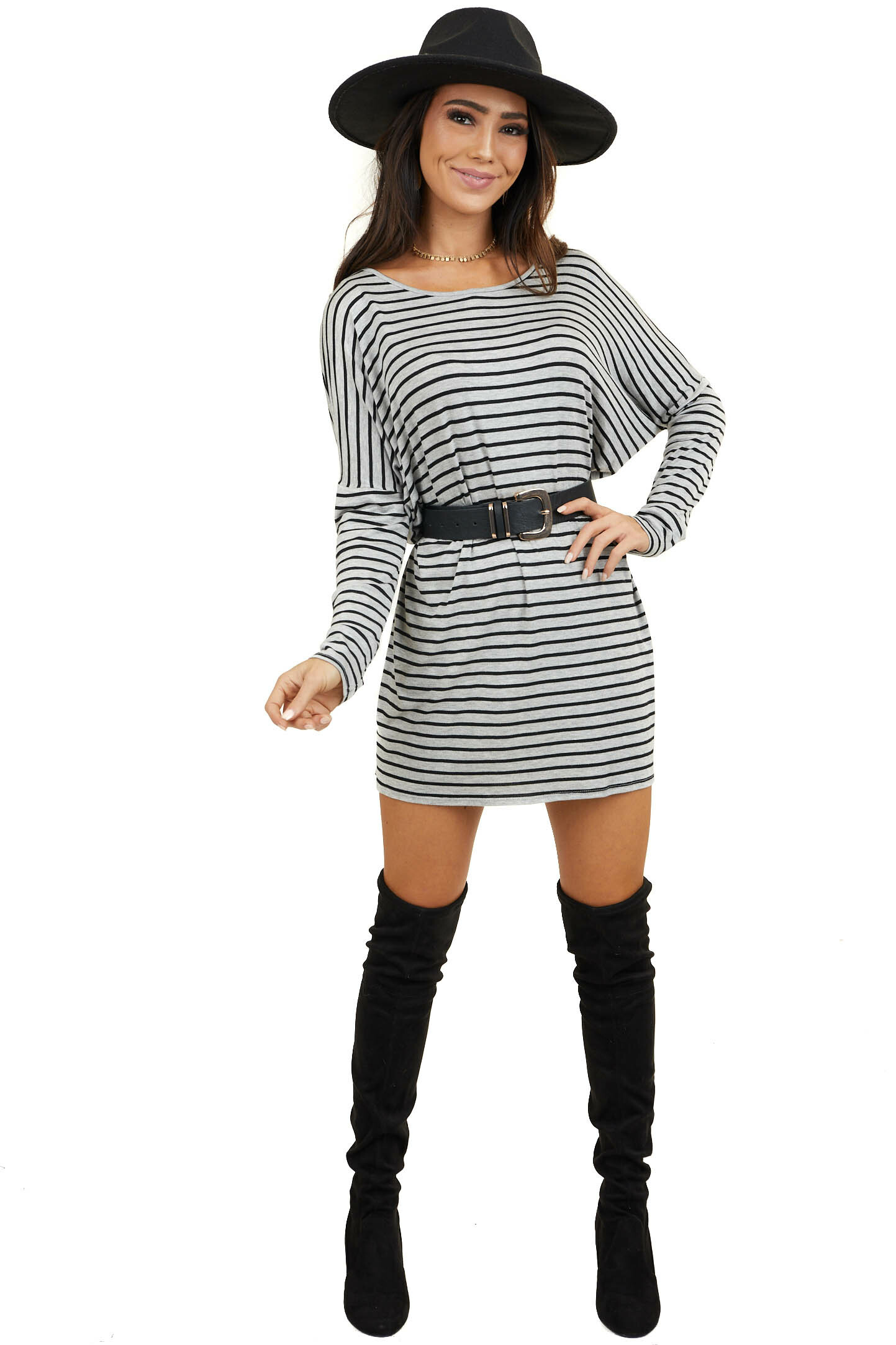 Heather Grey Striped Oversized Dress with Long Drop Sleeves