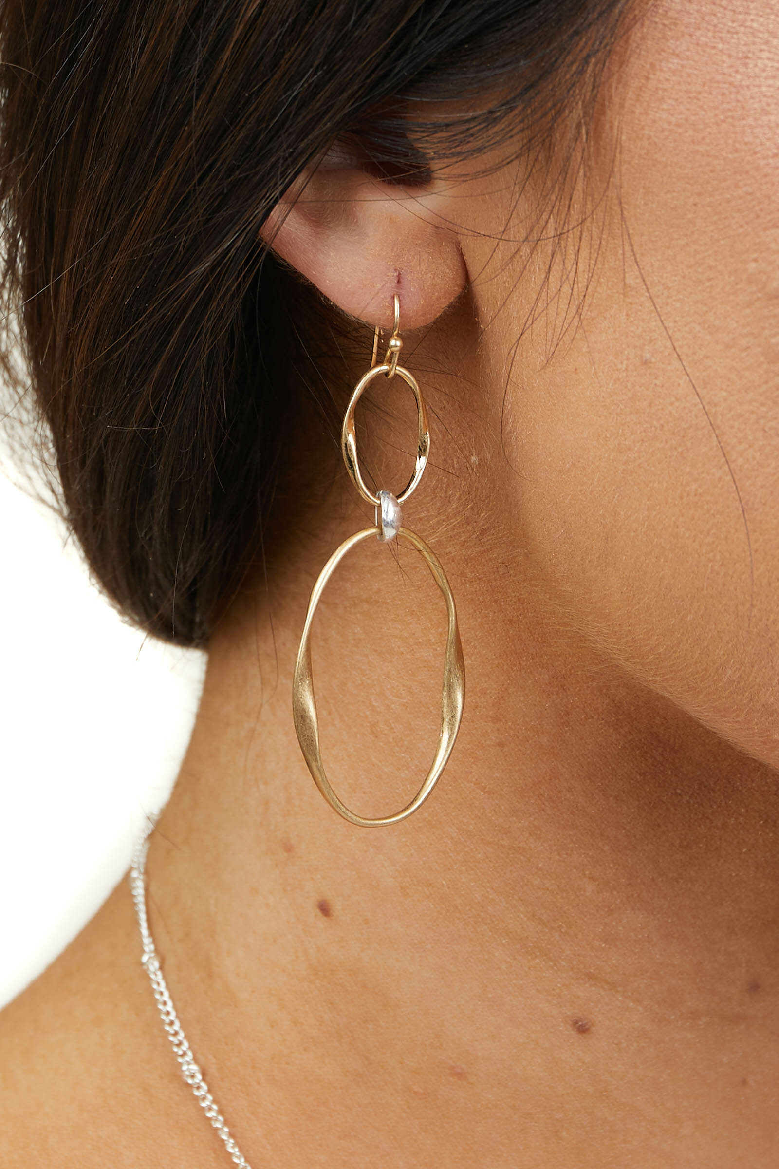 Gold Double Linked Dangle Earrings with Silver Detail