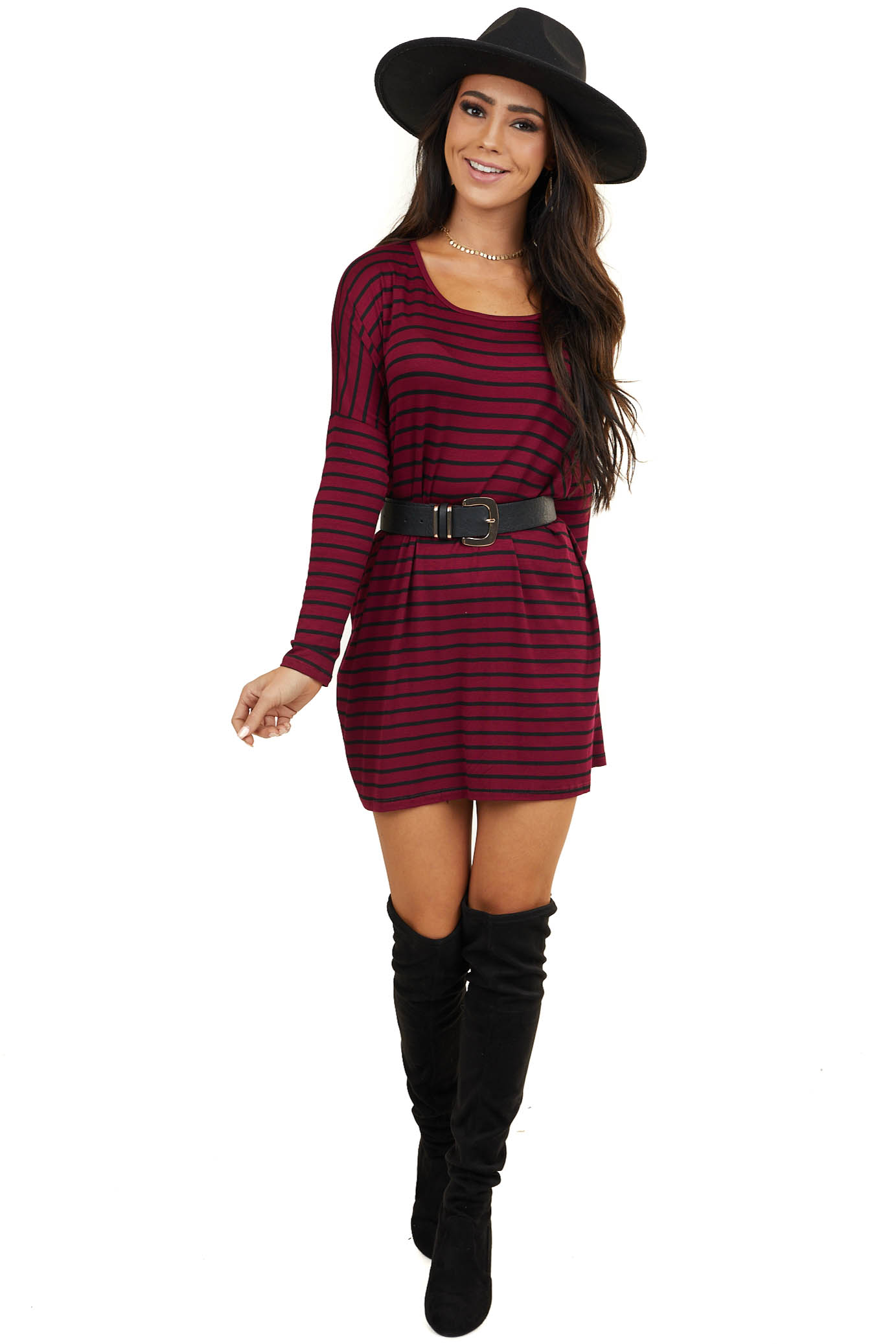 Wine Striped Oversized Dress with Long Drop Sleeves