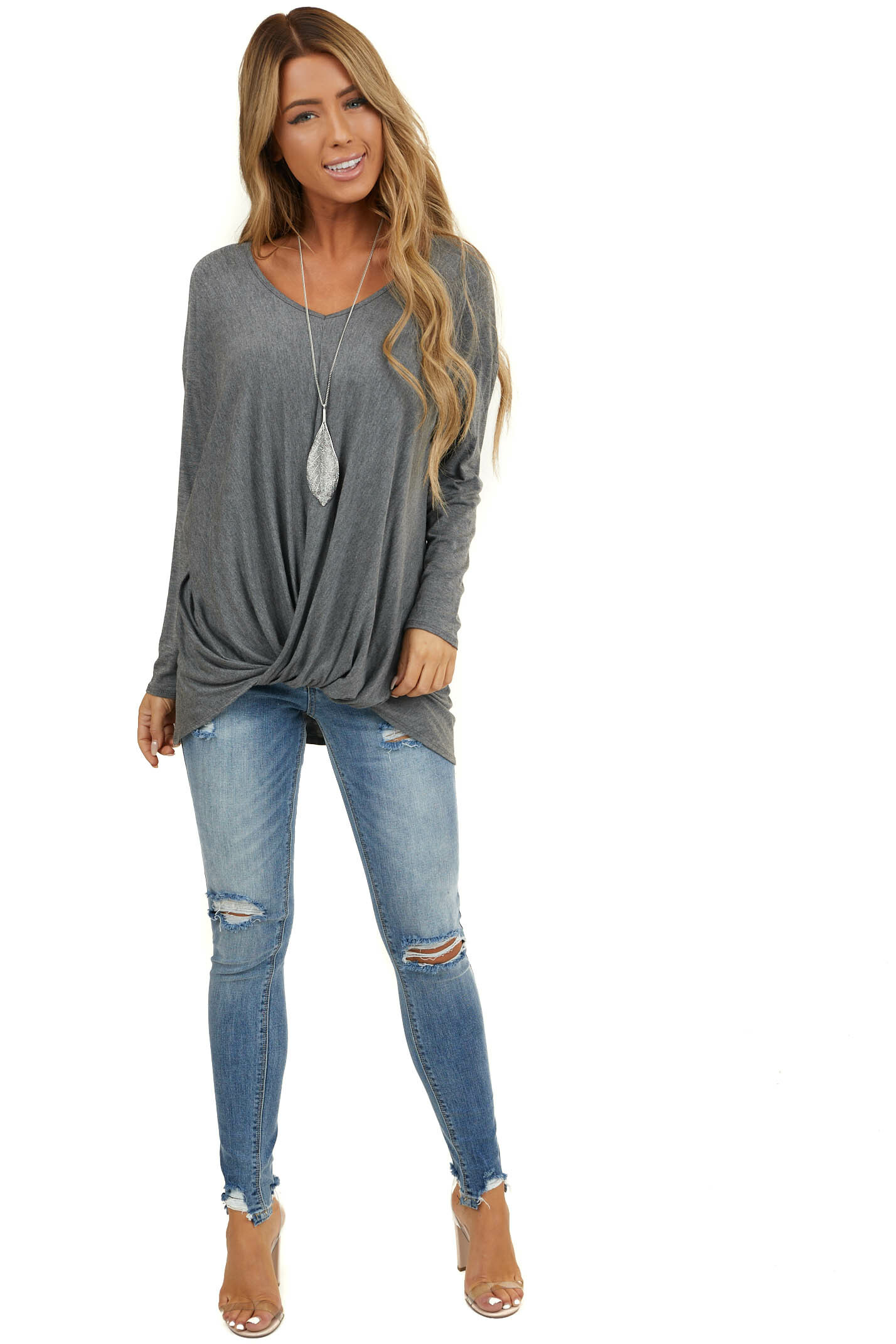 Stone Grey Long Sleeve Knit Top with Front Twist Detail