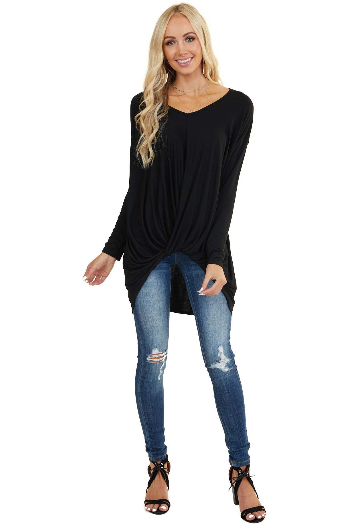 Black Long Sleeve Knit Top with Front Twist Detail