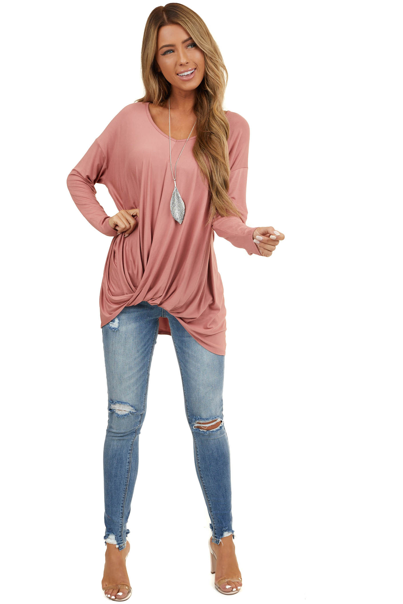 Dusty Blush Long Sleeve Knit Top with Front Twist Detail