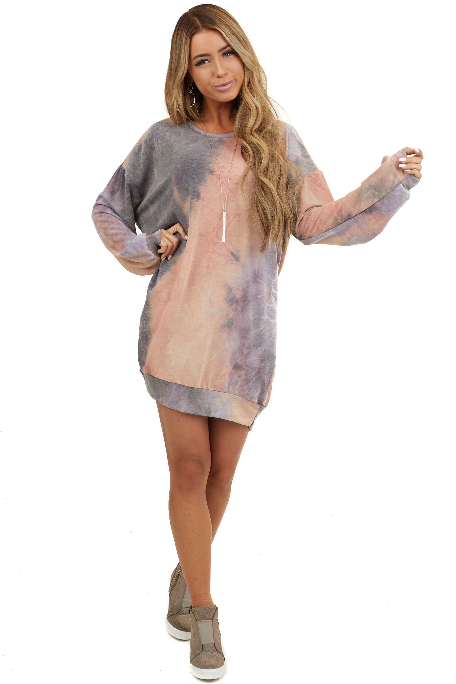 Coral and Stormy Grey Long Sleeve Dress with Side Pockets