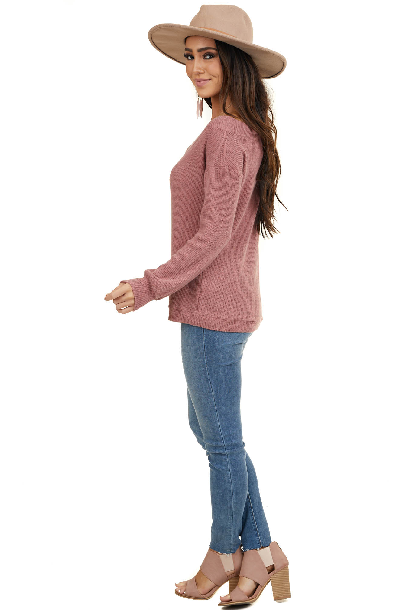 Mauve Waffle Knit Wide V Neck Top with Long Sleeves