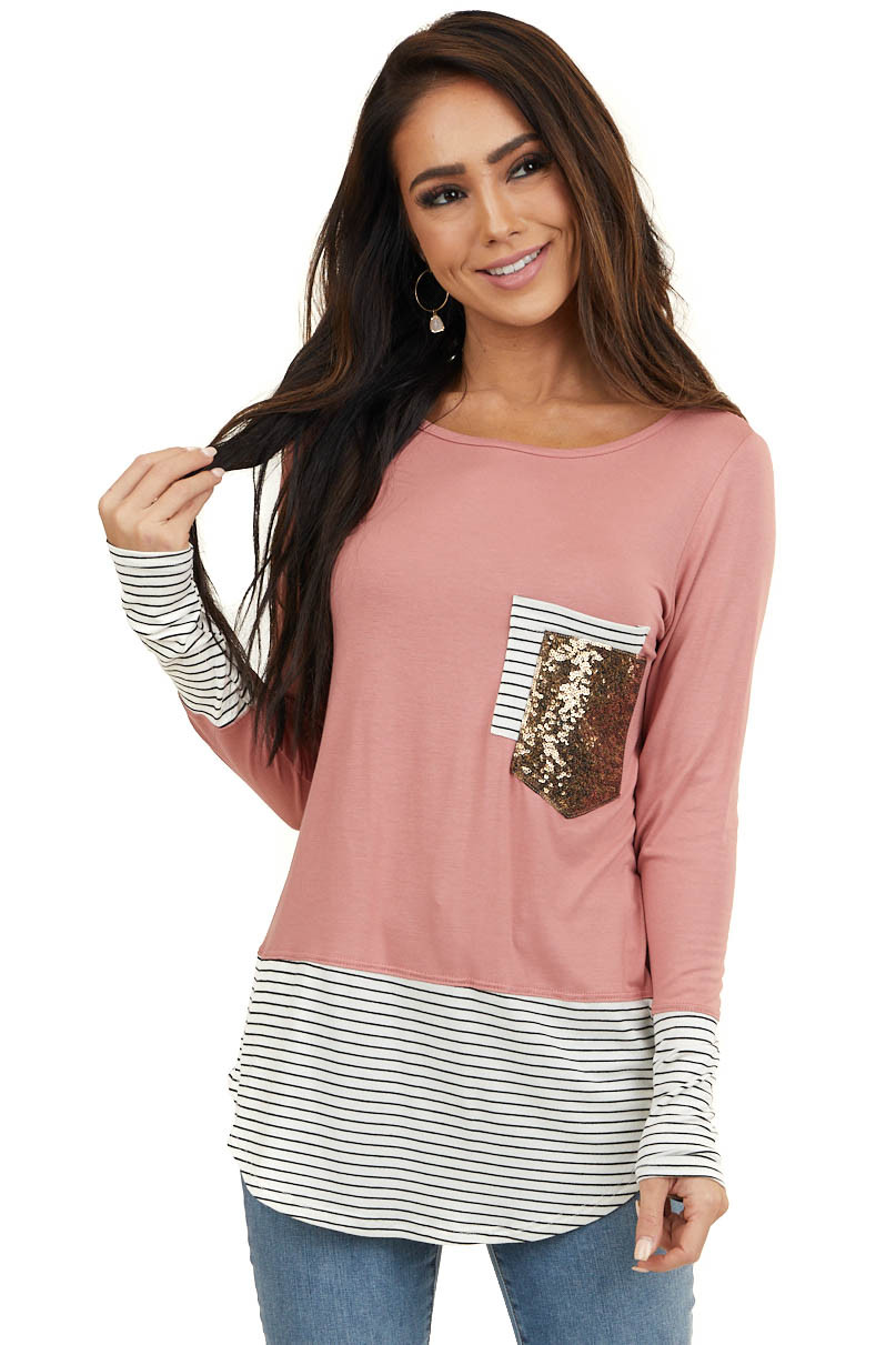Blush Long Sleeve Top with Striped Contrasts and Pockets