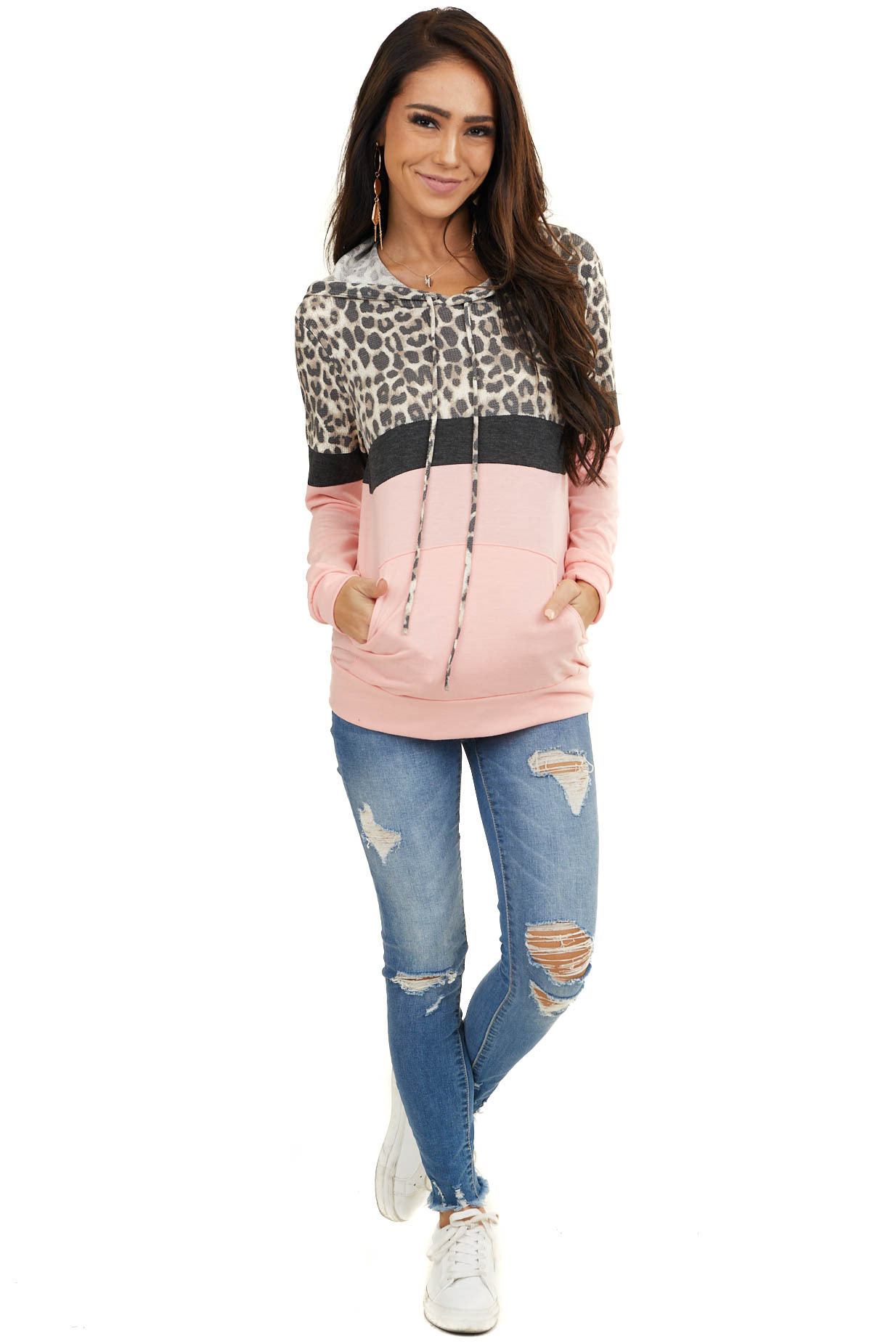 Pink Leopard Colorblock Hooded Sweatshirt with Front Pocket