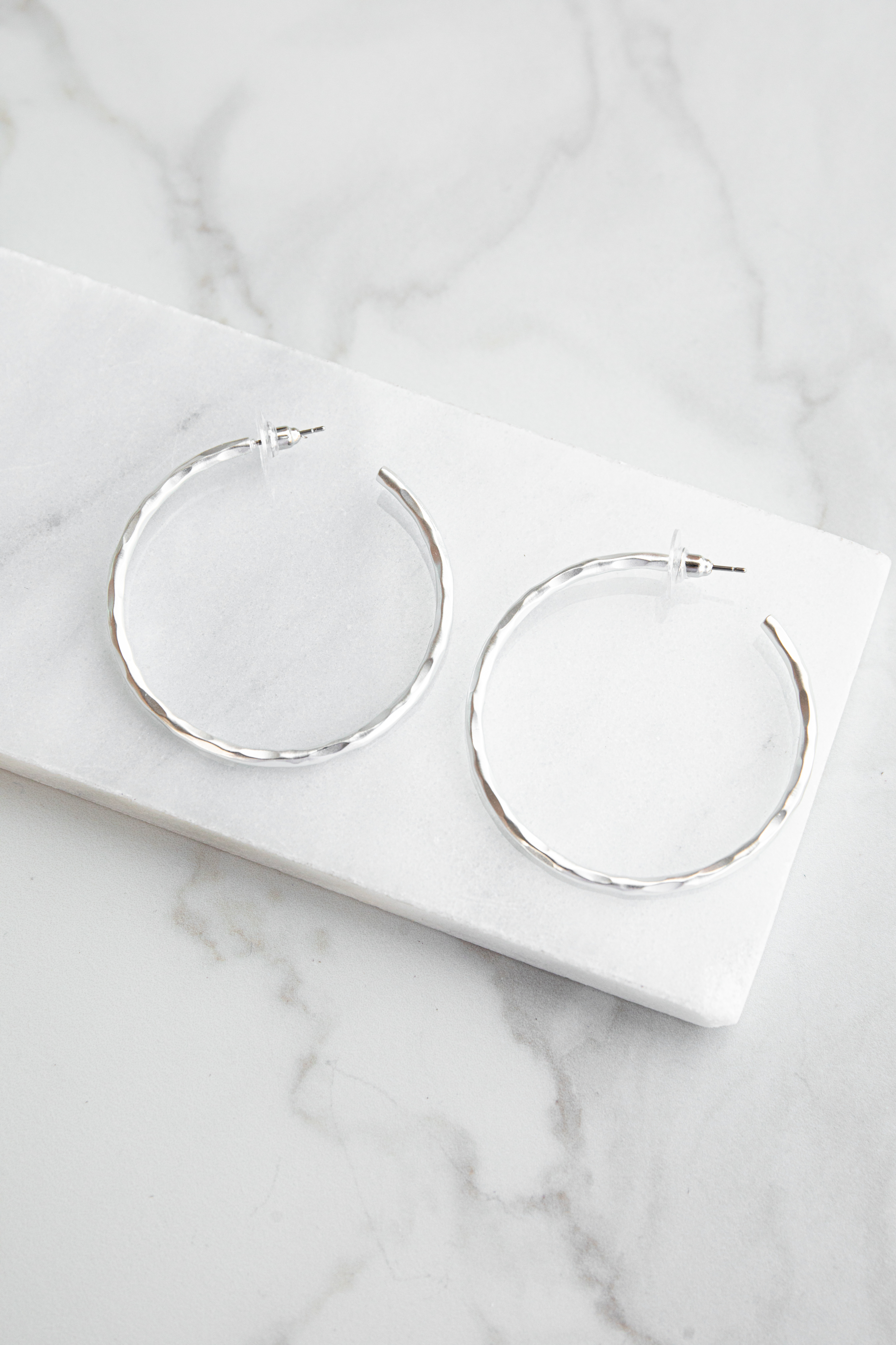 Silver Matte Hoop Earrings with Hammered Texture