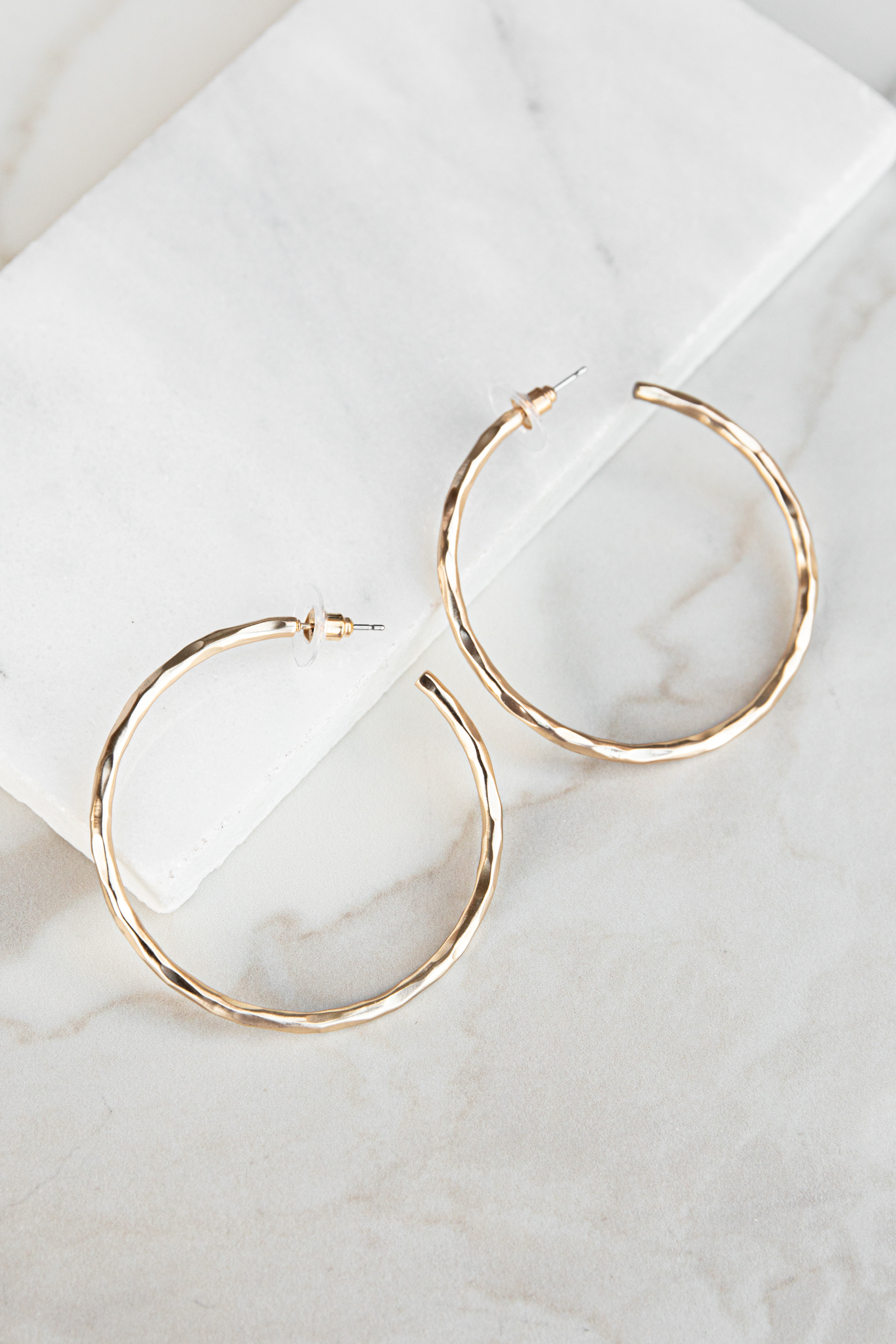 Gold Matte Hoop Earrings with Hammered Texture