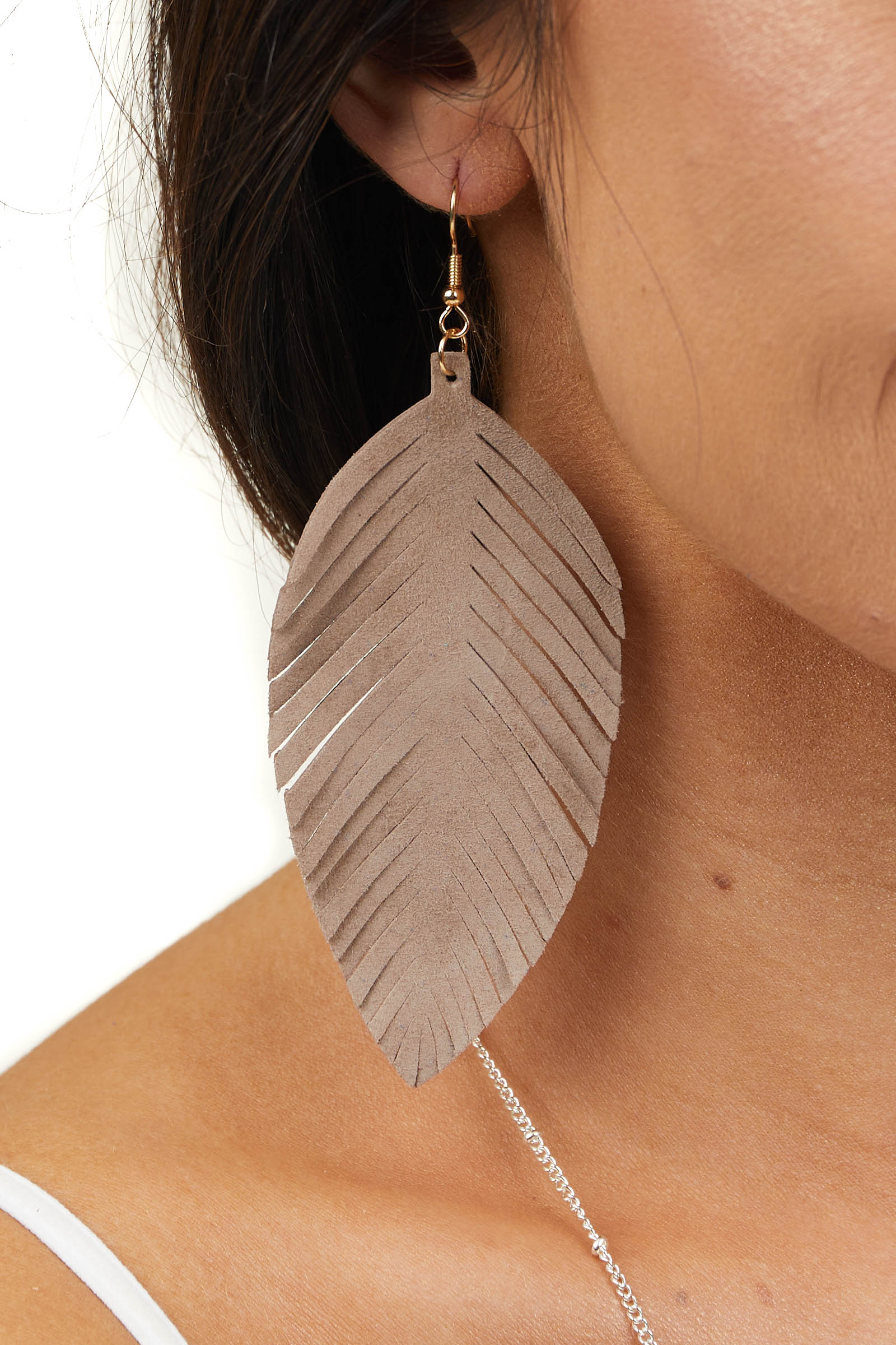Taupe Genuine Leather Feather Shaped Dangle Earrings