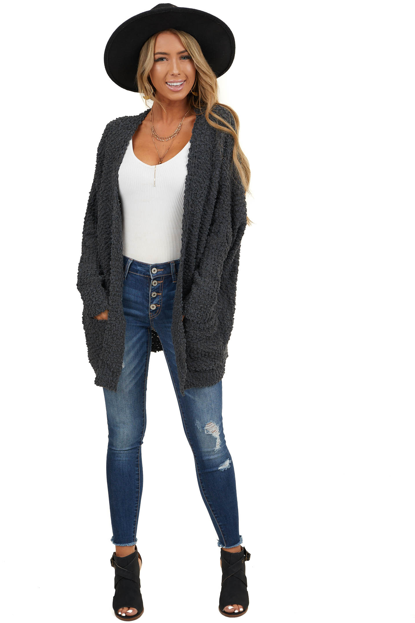 Charcoal Thick Knit Cardigan with Side Pockets